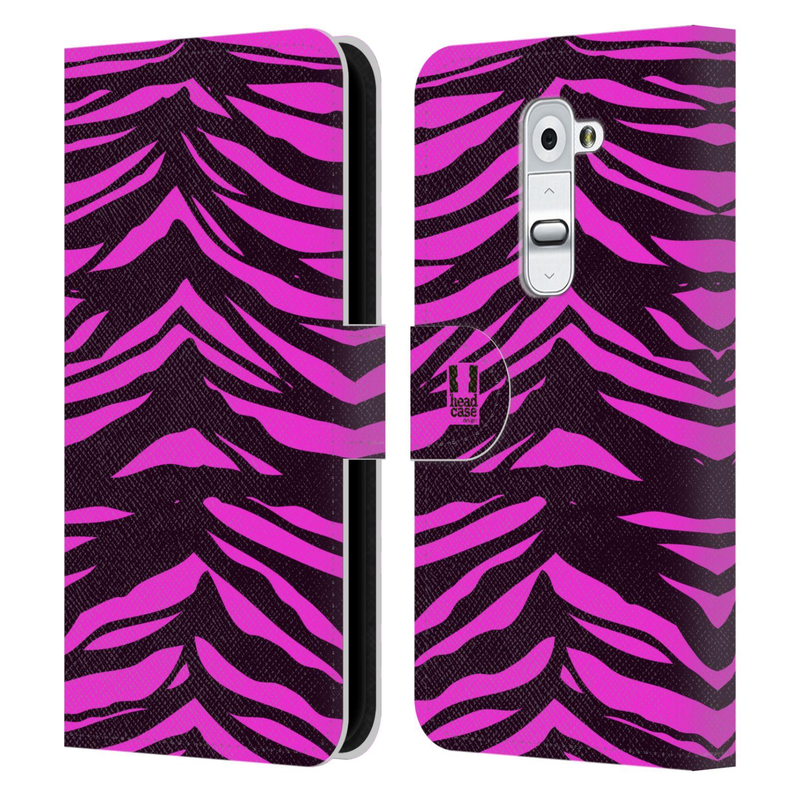 HEAD CASE Flipové pouzdro pro mobil LG G2 (D802) Zvířecí barevné vzory fialová tygr