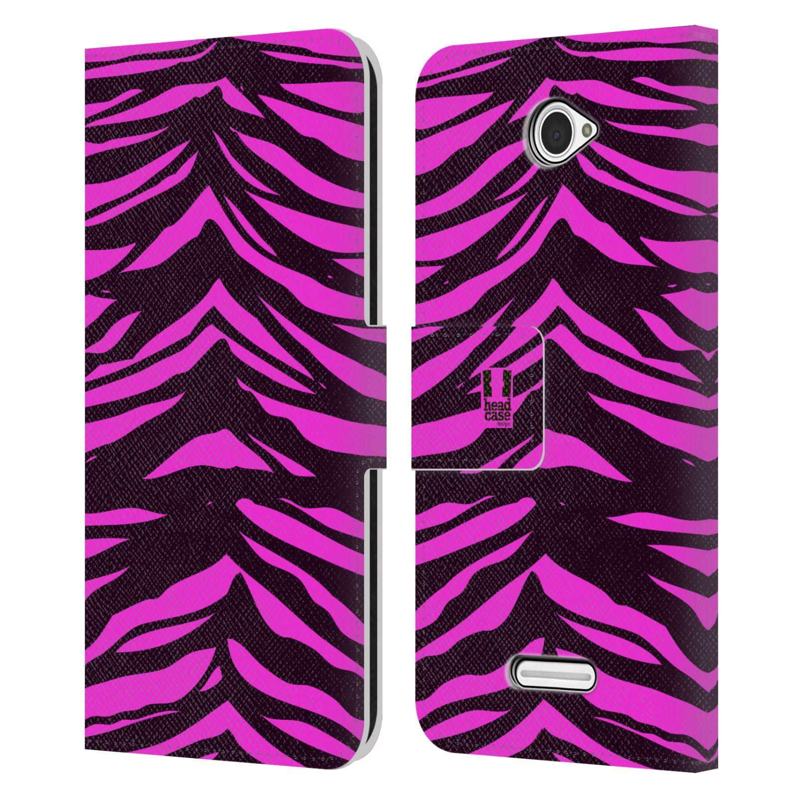 HEAD CASE Flipové pouzdro pro mobil SONY XPERIA E4 Zvířecí barevné vzory fialová tygr