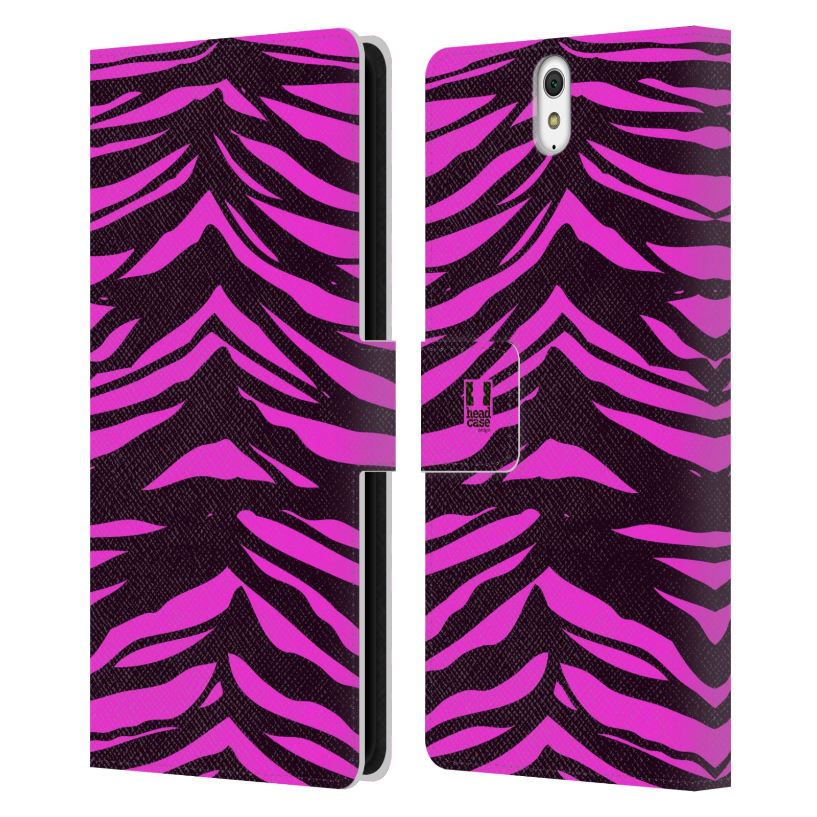 HEAD CASE Flipové pouzdro pro mobil SONY XPERIA C5 Ultra Zvířecí barevné vzory fialová tygr