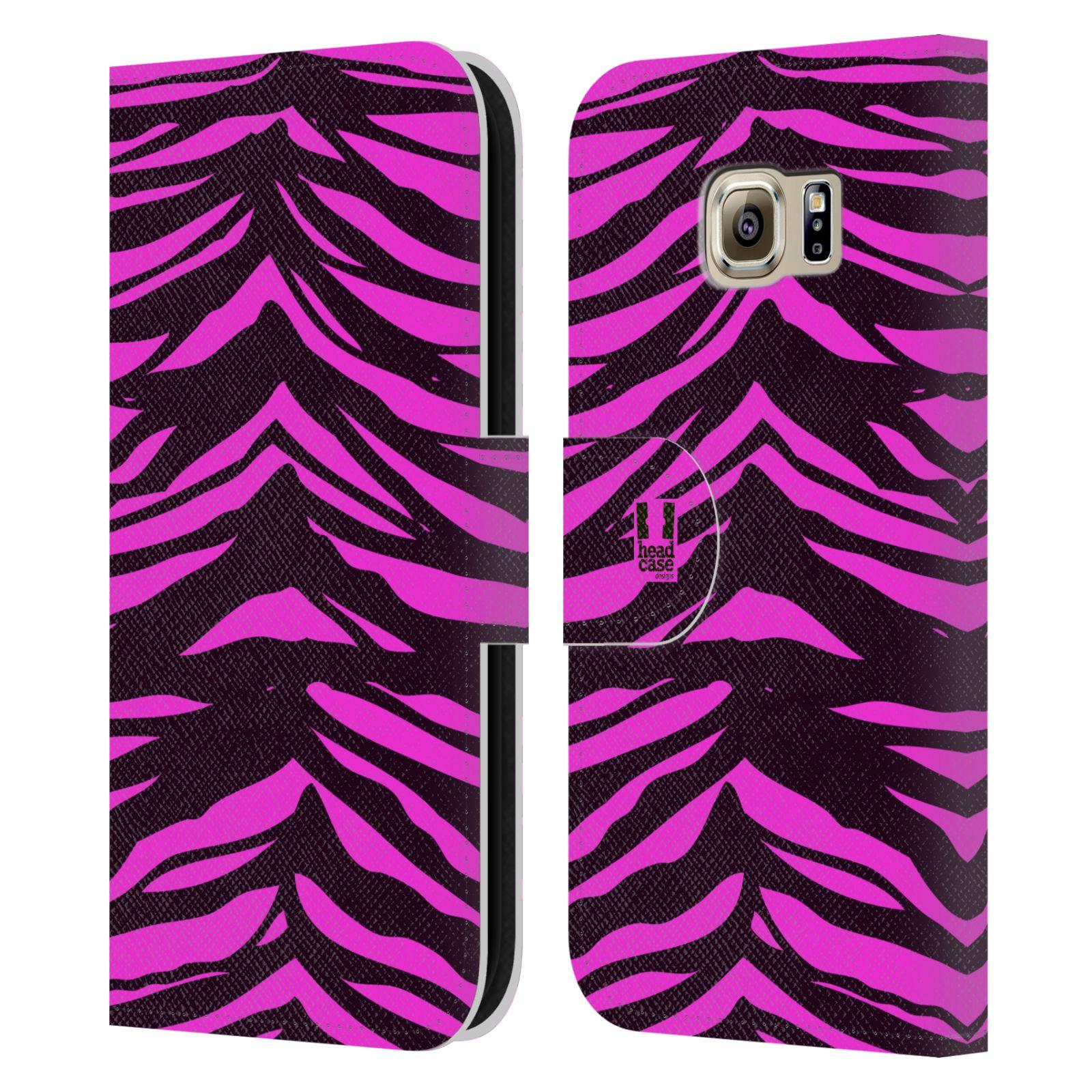 HEAD CASE Flipové pouzdro pro mobil Samsung Galaxy S6 (G9200) Zvířecí barevné vzory fialová tygr
