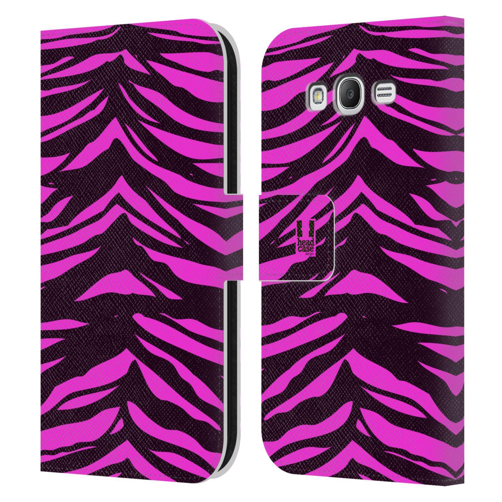 HEAD CASE Flipové pouzdro pro mobil Samsung Galaxy Grand i9080 Zvířecí barevné vzory fialová tygr