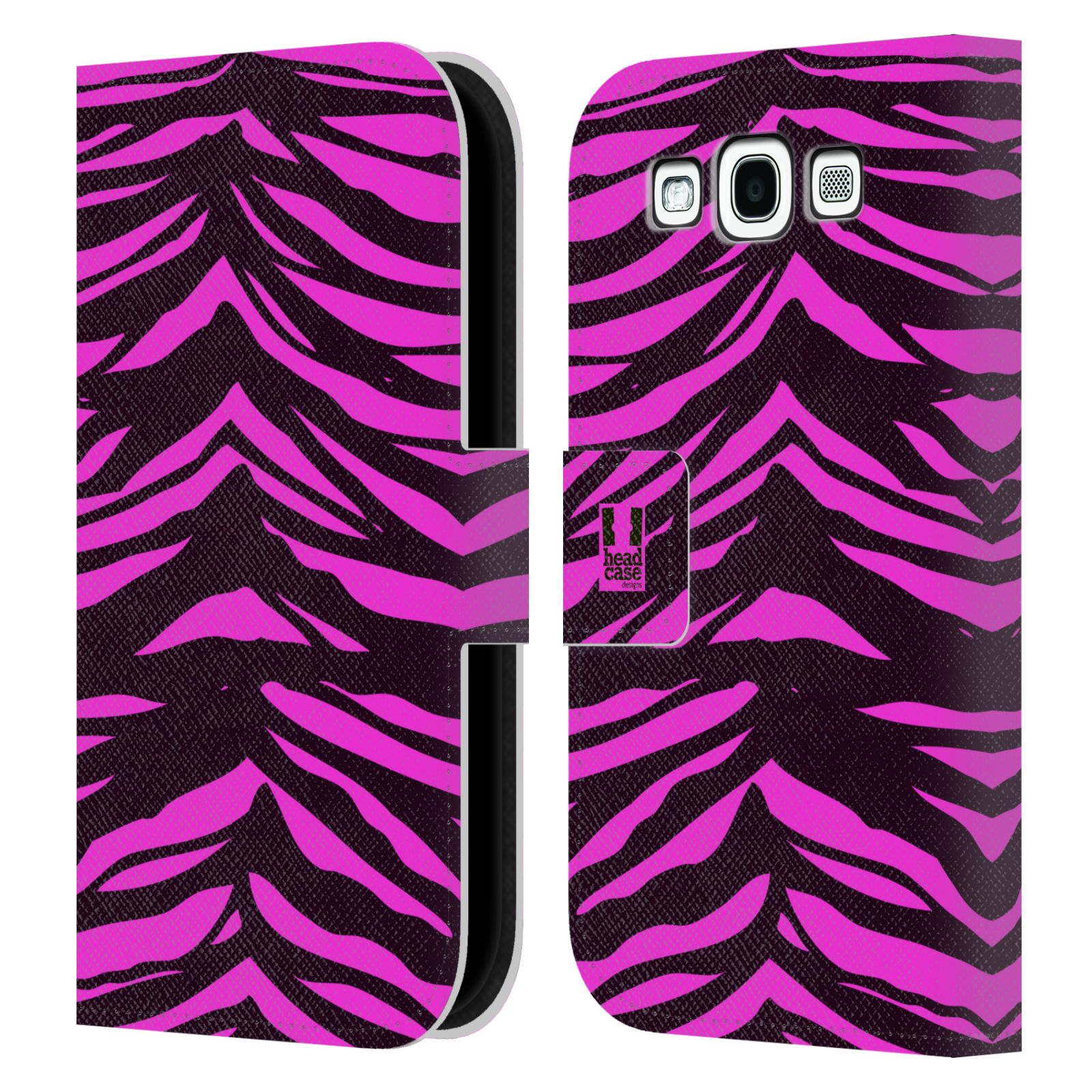 HEAD CASE Flipové pouzdro pro mobil Samsung Galaxy S3 Zvířecí barevné vzory fialová tygr