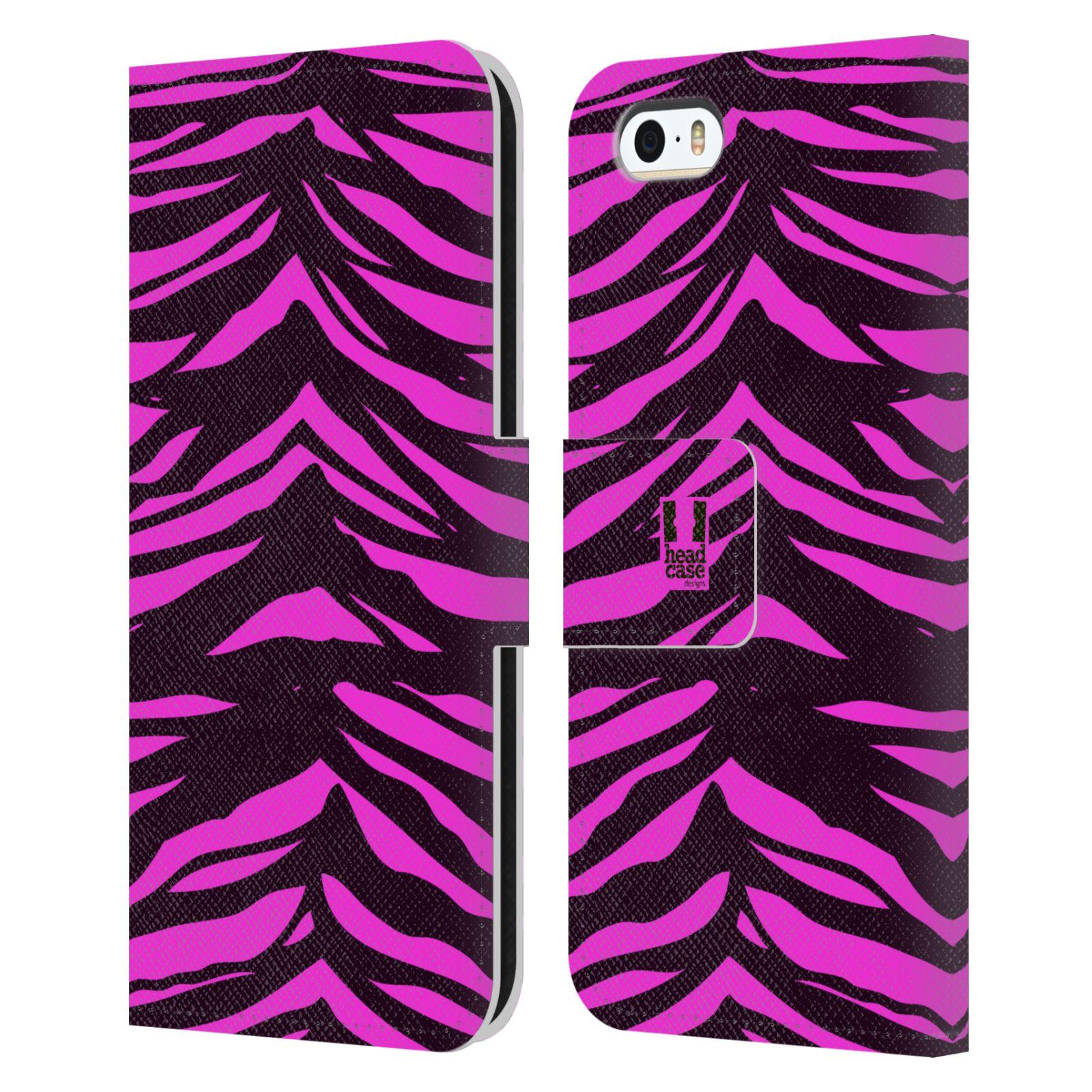 HEAD CASE Flipové pouzdro pro mobil Apple Iphone 5/5s Zvířecí barevné vzory fialová tygr