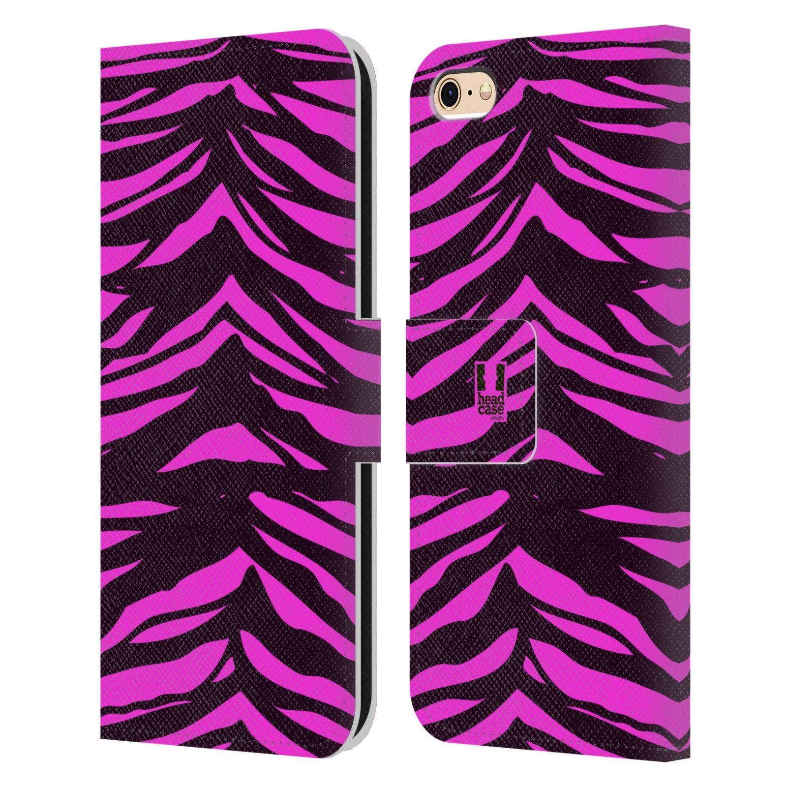 HEAD CASE Flipové pouzdro pro mobil Apple Iphone 6/6s Zvířecí barevné vzory fialová tygr