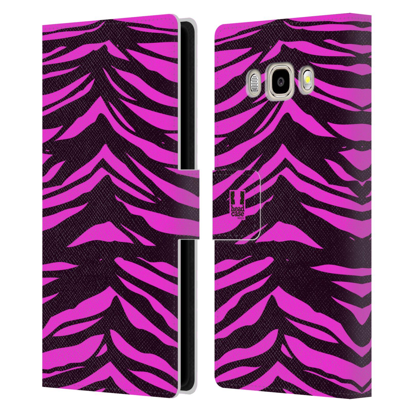 HEAD CASE Flipové pouzdro pro mobil Samsung Galaxy J5 2016 Zvířecí barevné vzory fialová tygr