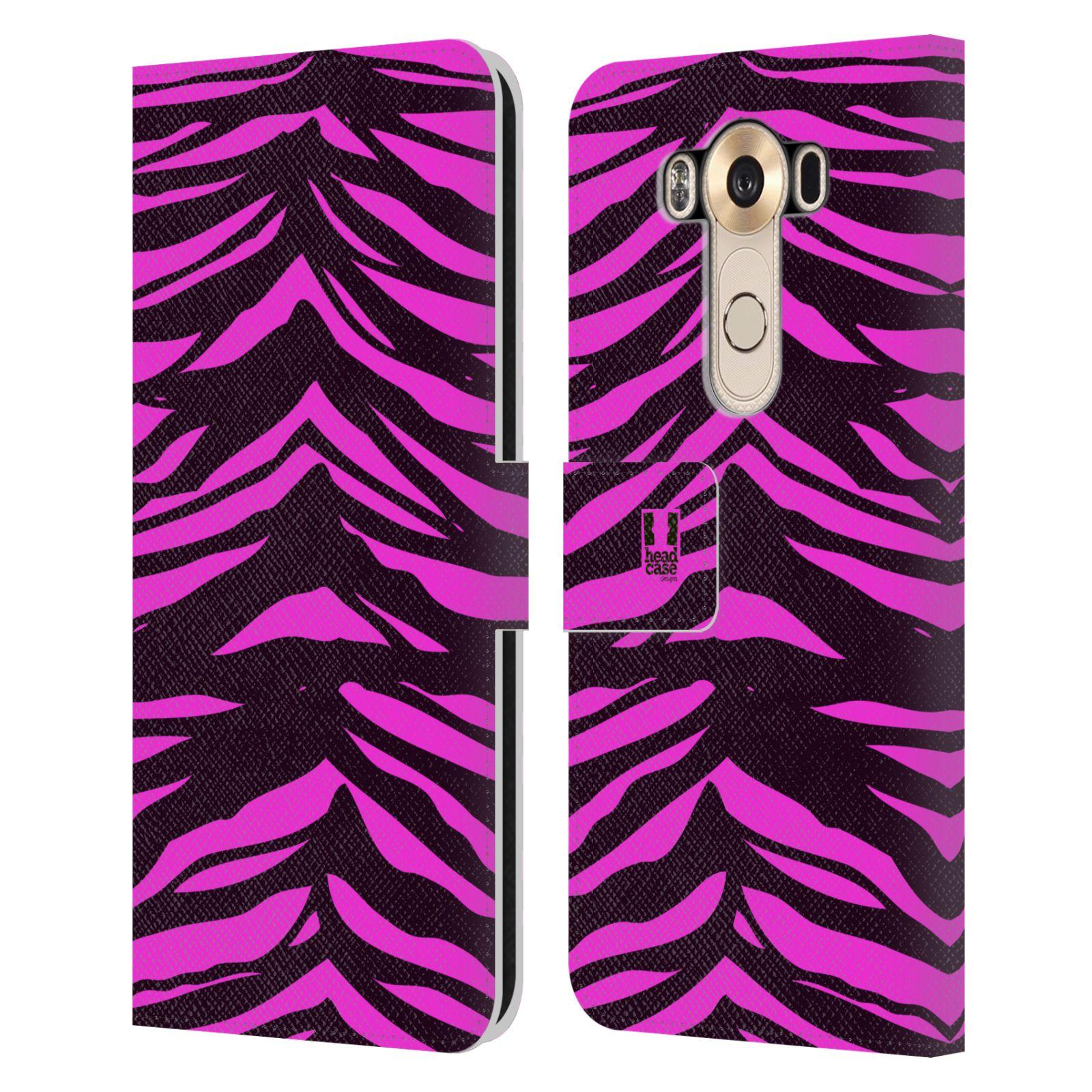 HEAD CASE Flipové pouzdro pro mobil LG V10 Zvířecí barevné vzory fialová tygr