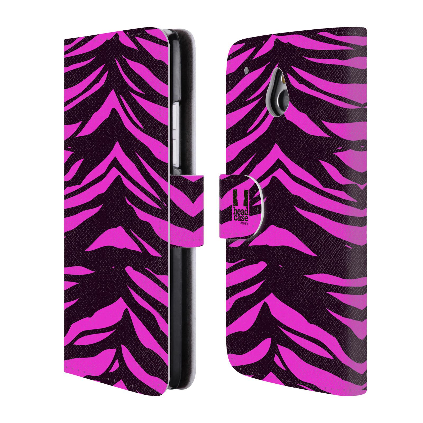 HEAD CASE Flipové pouzdro pro mobil HTC ONE MINI (M4) Zvířecí barevné vzory fialová tygr