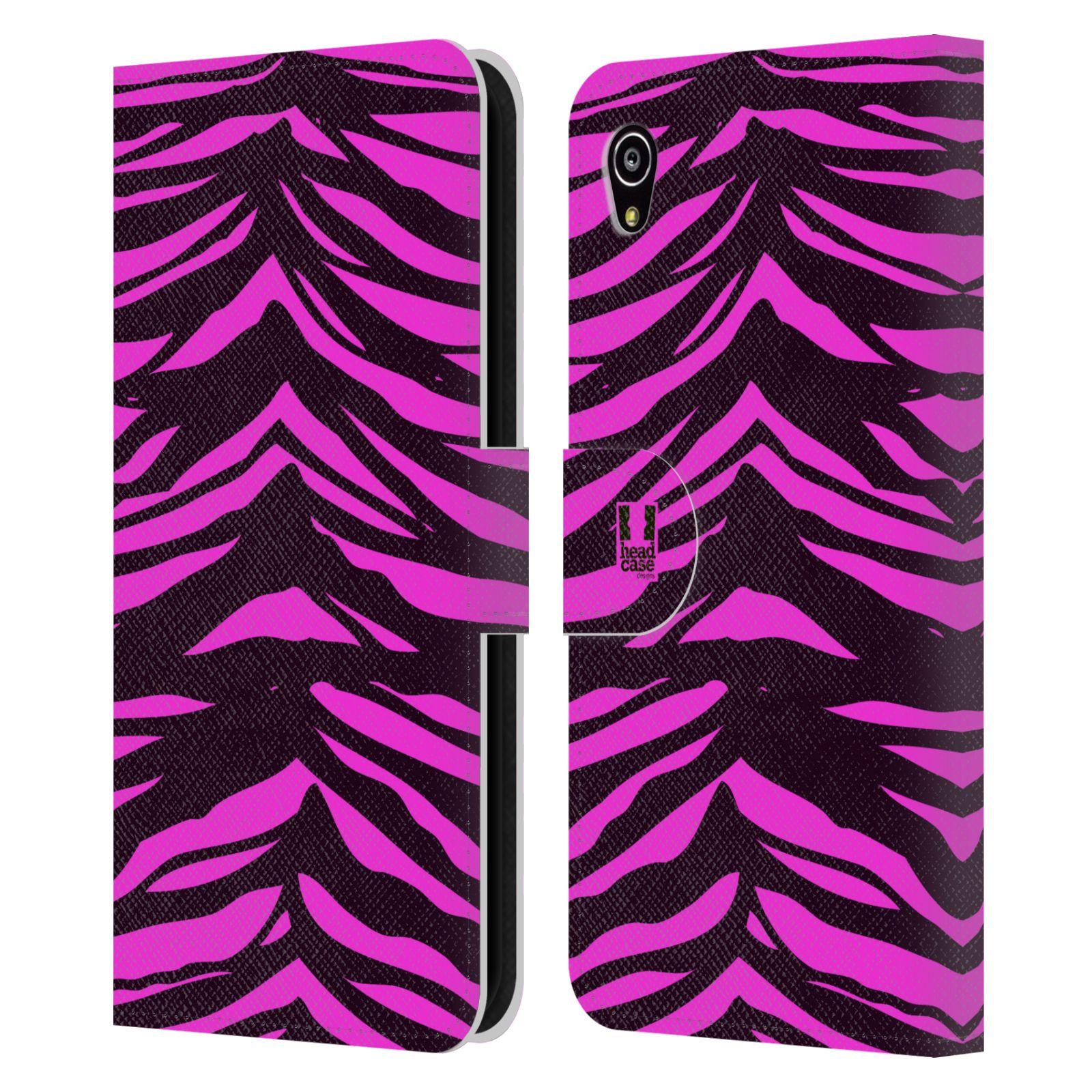 HEAD CASE Flipové pouzdro pro mobil SONY XPERIA M4 AQUA Zvířecí barevné vzory fialová tygr