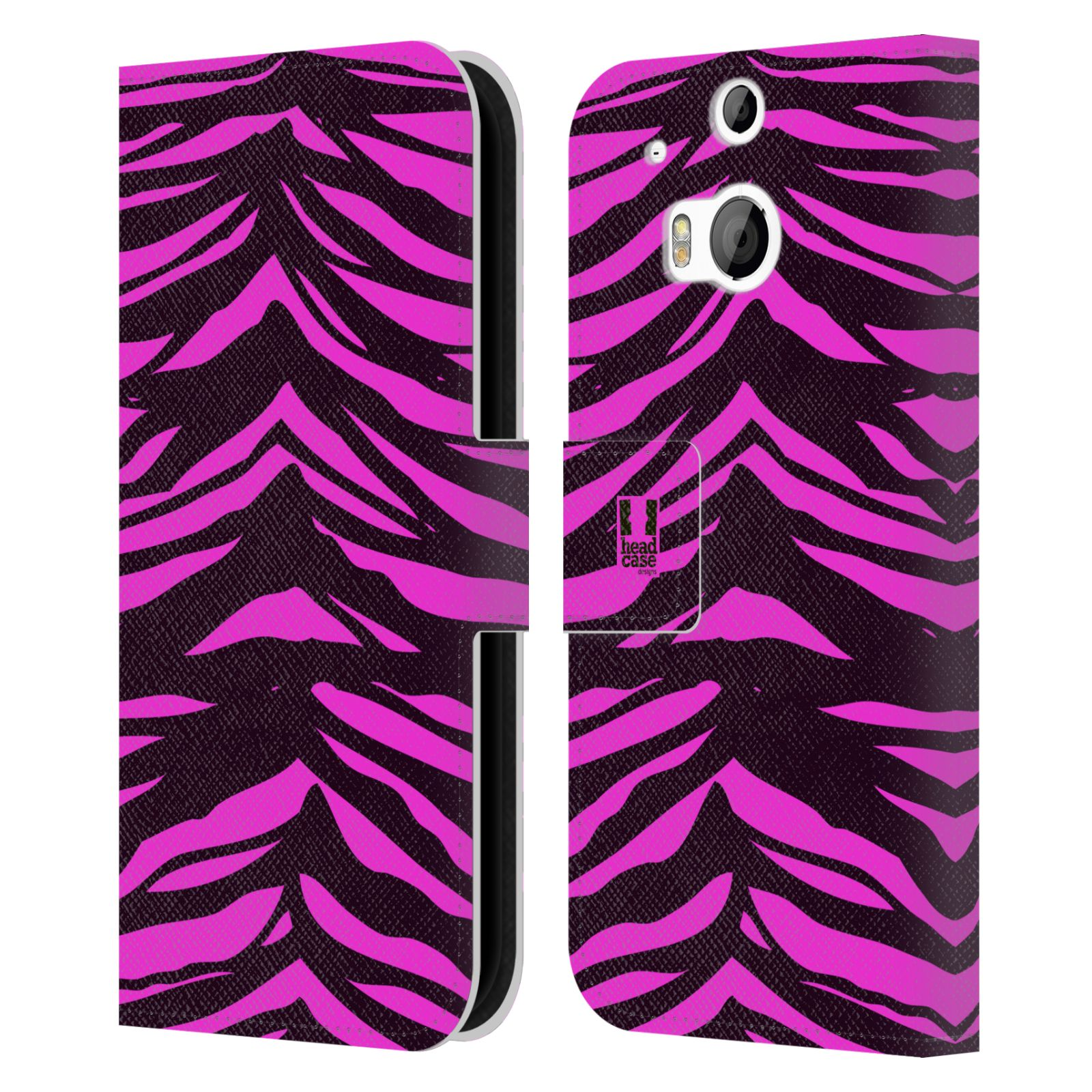 HEAD CASE Flipové pouzdro pro mobil HTC ONE (M8, M8s) Zvířecí barevné vzory fialová tygr
