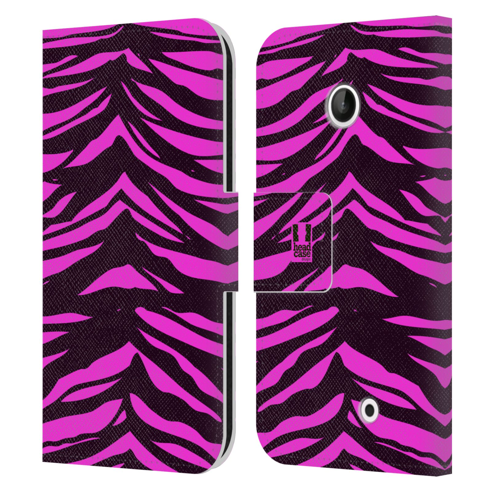 HEAD CASE Flipové pouzdro pro mobil NOKIA LUMIA 630 / LUMIA 630 DUAL Zvířecí barevné vzory fialová tygr
