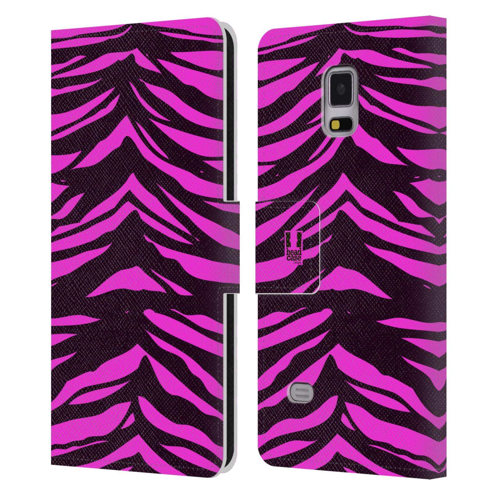 HEAD CASE Flipové pouzdro pro mobil Samsung Galaxy Note 4 Zvířecí barevné vzory fialová tygr