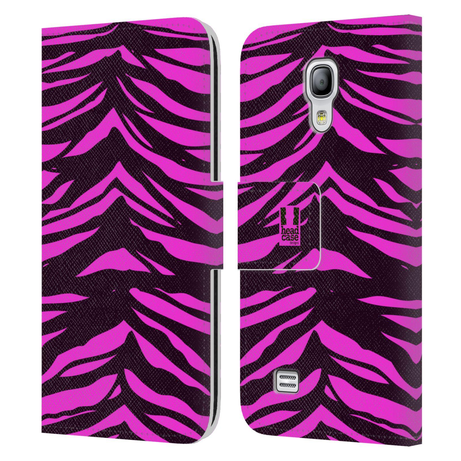 HEAD CASE Flipové pouzdro pro mobil Samsung Galaxy S4 MINI / S4 MINI DUOS Zvířecí barevné vzory fialová tygr