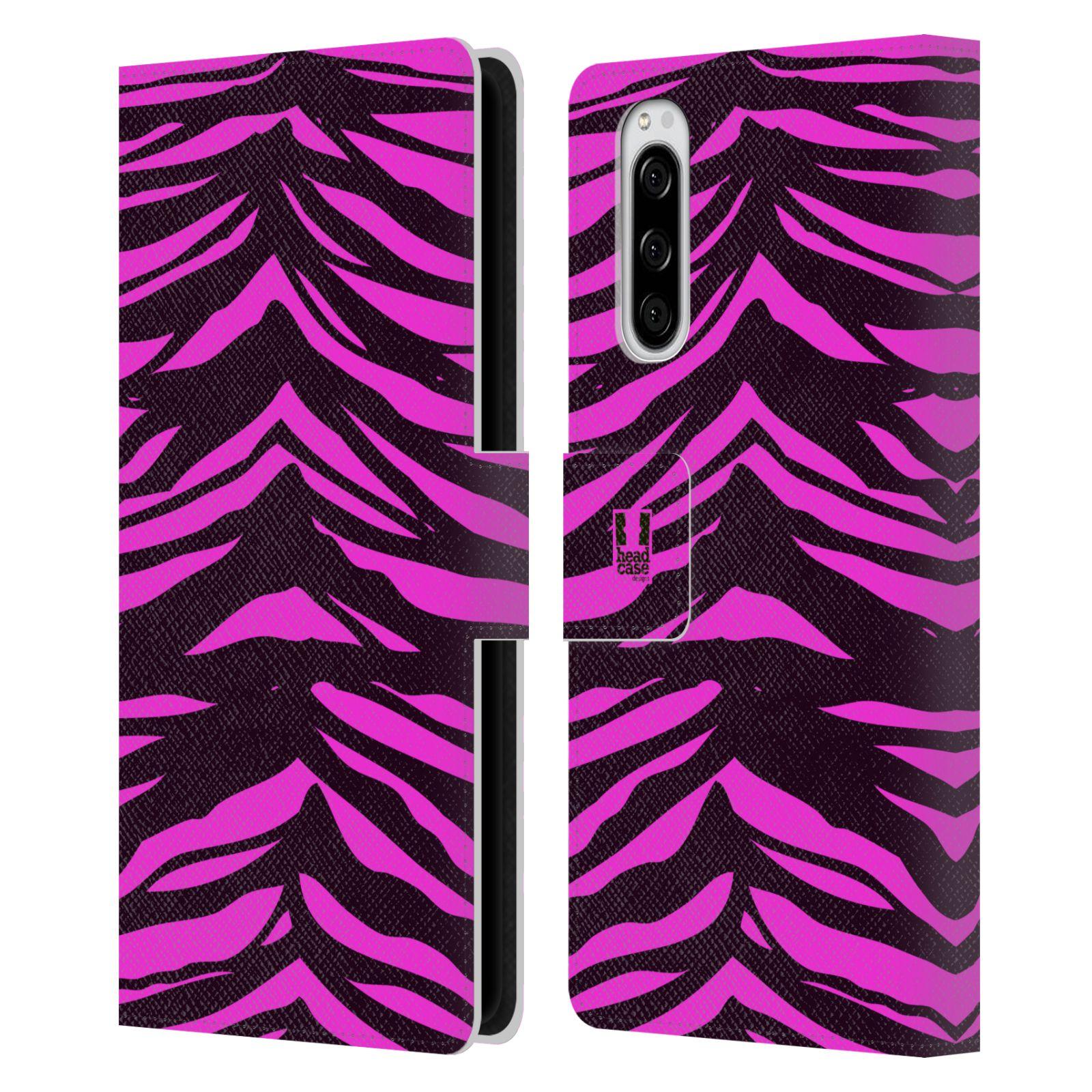 Pouzdro na mobil Sony Xperia 5 Zvířecí barevné vzory fialová tygr