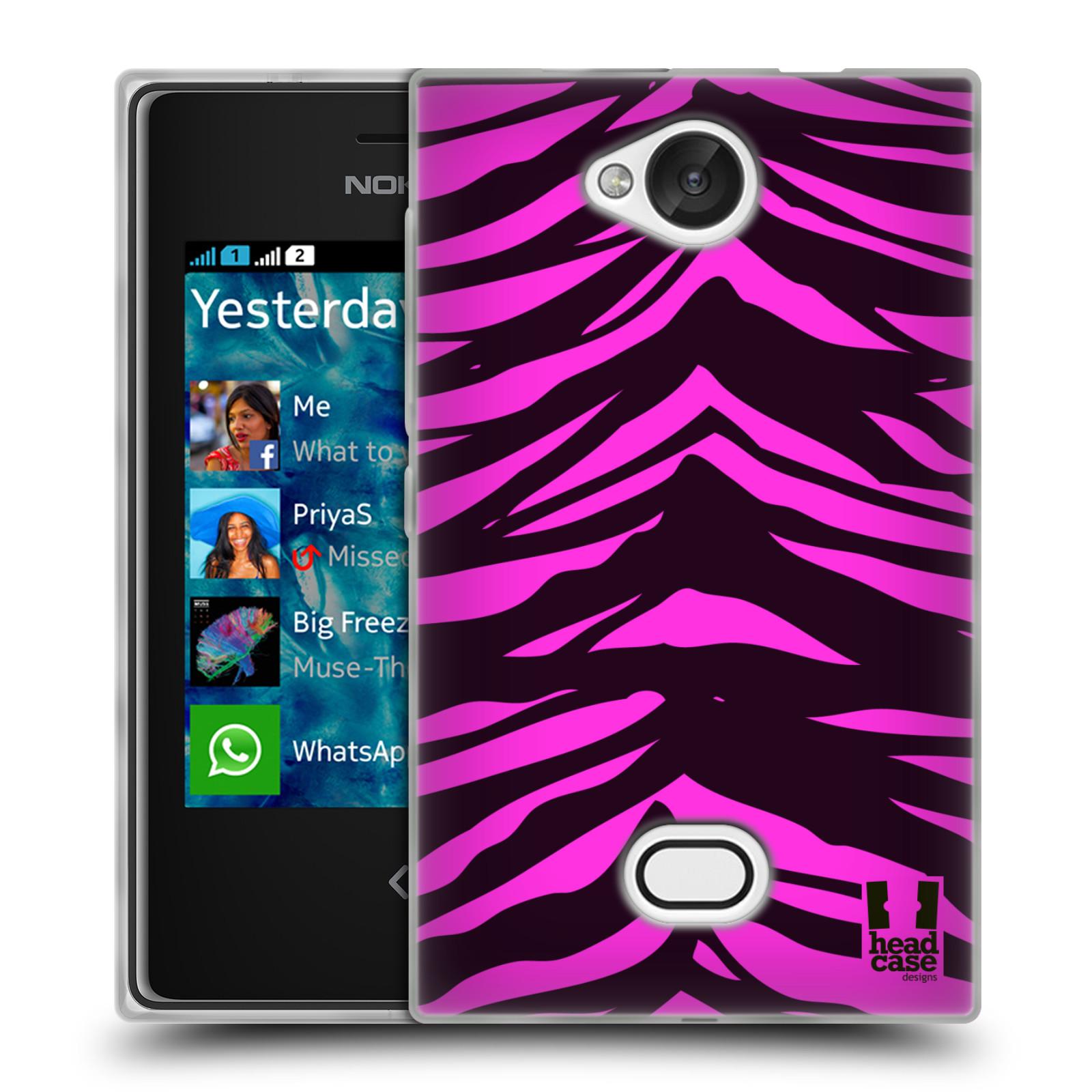 HEAD CASE silikonový obal na mobil NOKIA Asha 503 vzor Divočina zvíře tygr anilinová/fialová