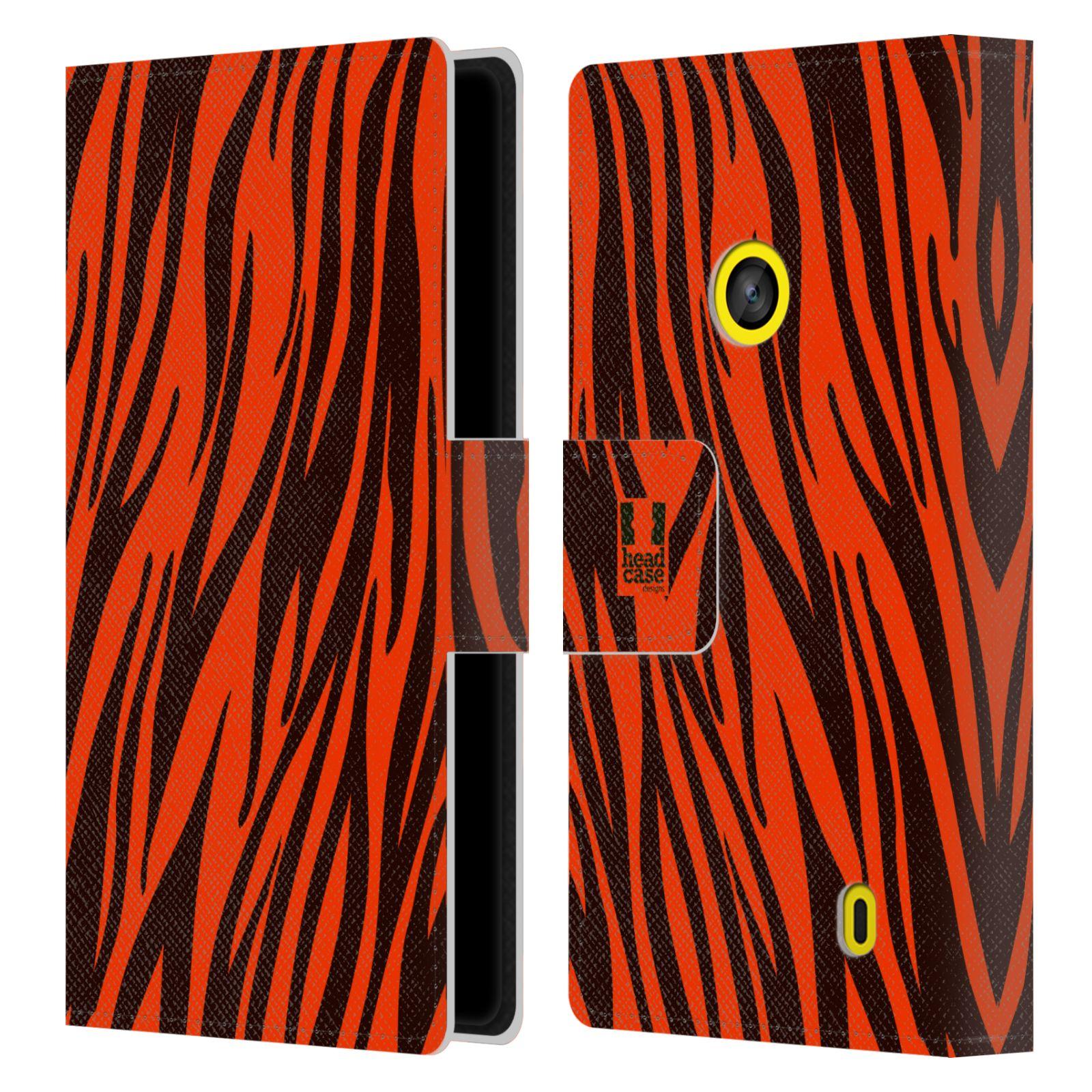 HEAD CASE Flipové pouzdro pro mobil NOKIA LUMIA 520 / 525 Zvířecí barevné vzory oranžový tygr