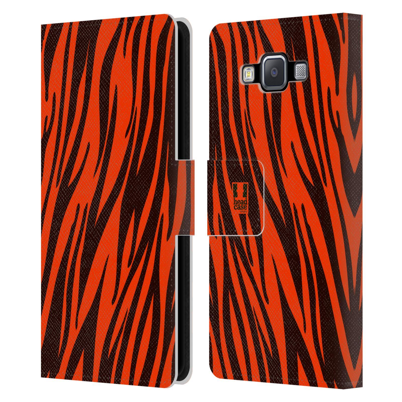 HEAD CASE Flipové pouzdro pro mobil Samsung Galaxy A5 Zvířecí barevné vzory oranžový tygr