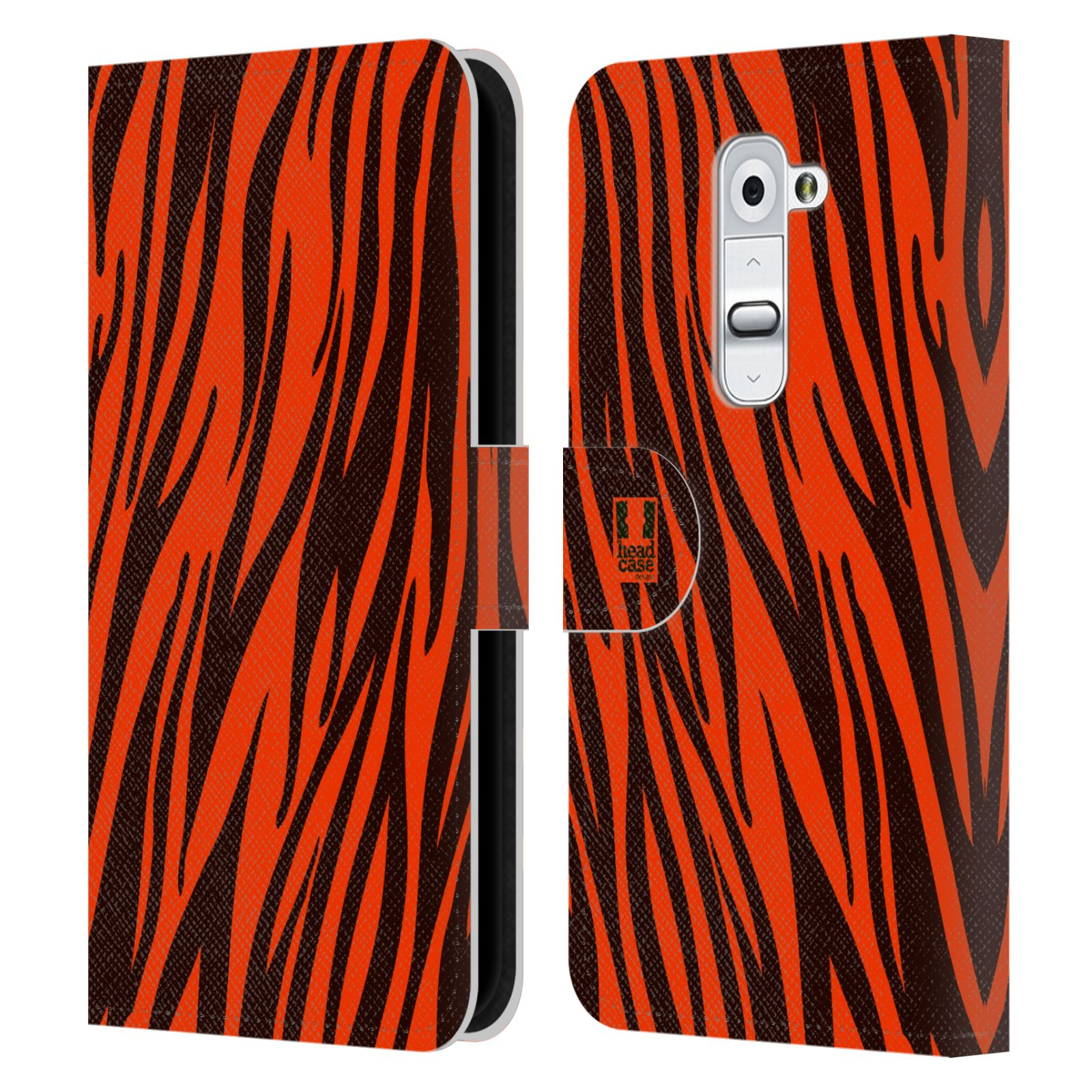 HEAD CASE Flipové pouzdro pro mobil LG G2 (D802) Zvířecí barevné vzory oranžový tygr