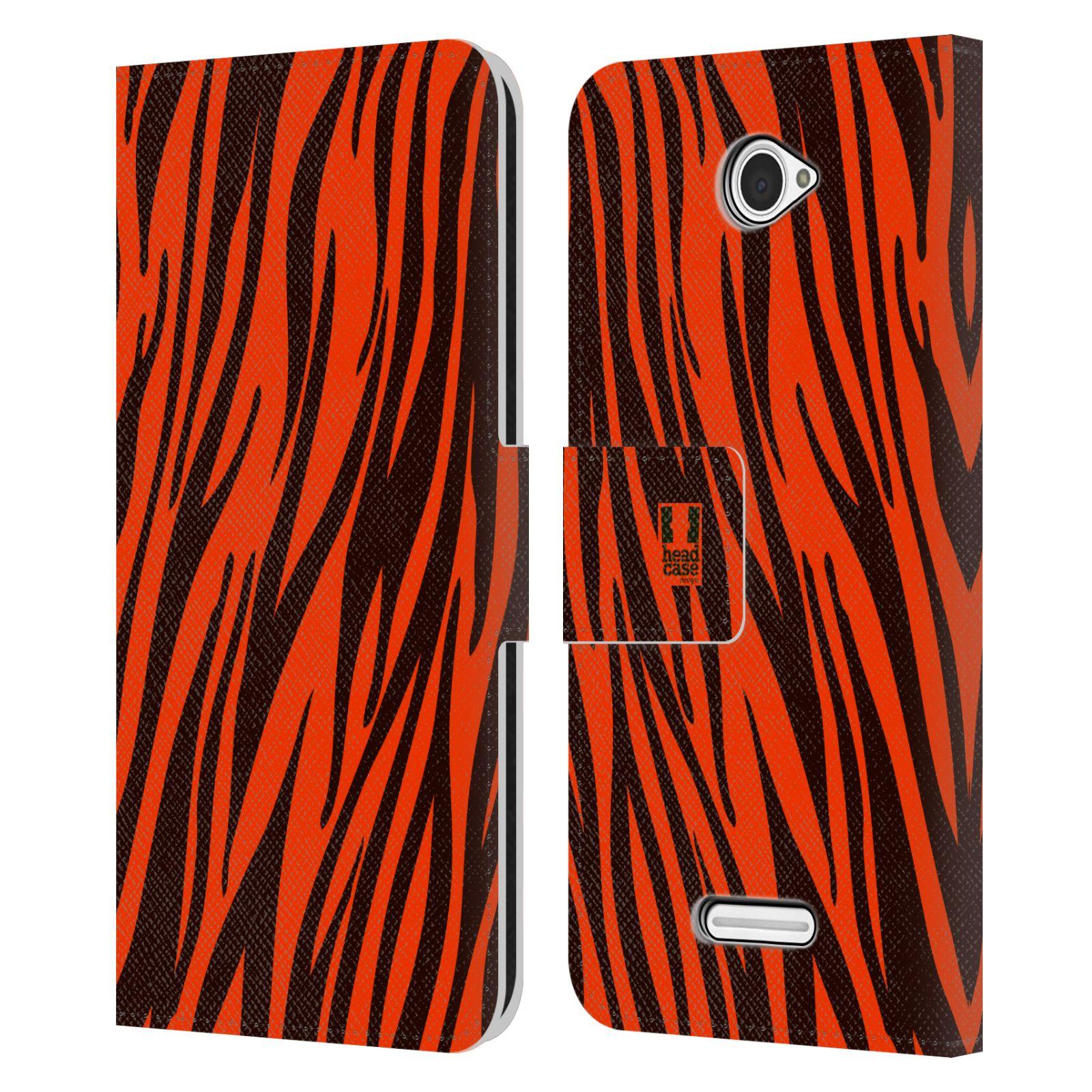HEAD CASE Flipové pouzdro pro mobil SONY XPERIA E4 Zvířecí barevné vzory oranžový tygr