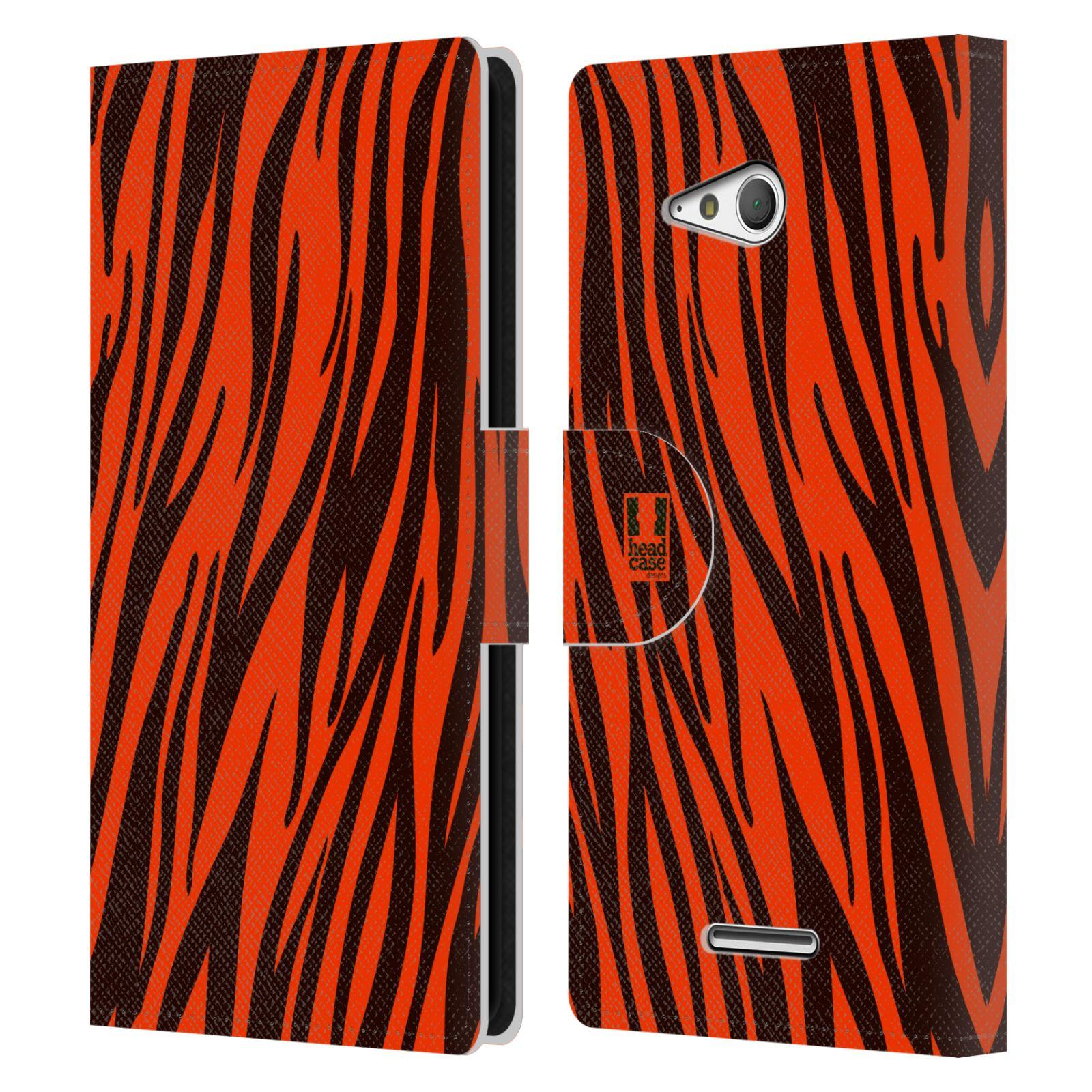 HEAD CASE Flipové pouzdro pro mobil SONY XPERIA E4g Zvířecí barevné vzory oranžový tygr