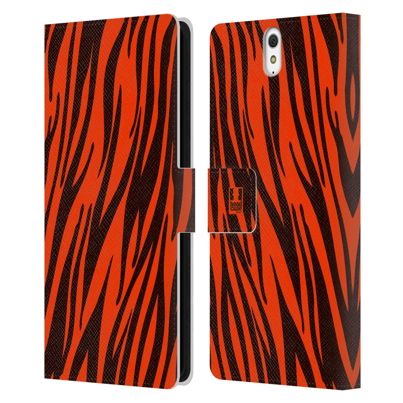 HEAD CASE Flipové pouzdro pro mobil SONY XPERIA C5 Ultra Zvířecí barevné vzory oranžový tygr