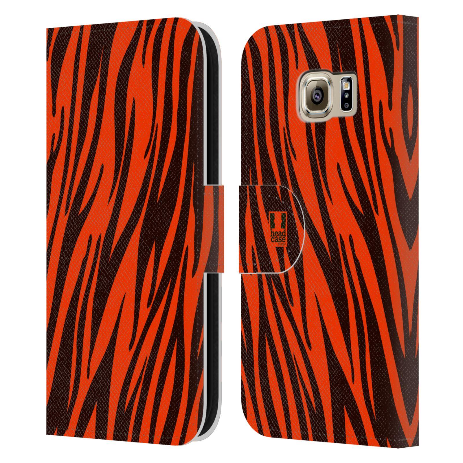 HEAD CASE Flipové pouzdro pro mobil Samsung Galaxy S6 (G9200) Zvířecí barevné vzory oranžový tygr