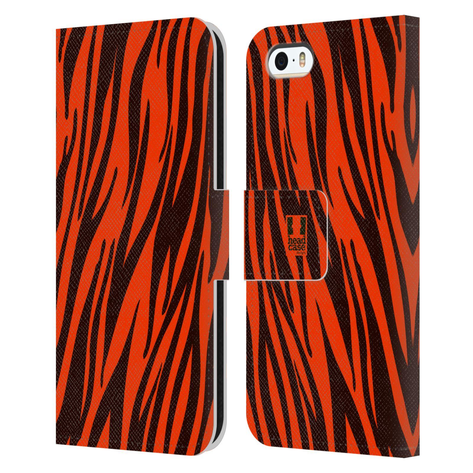 HEAD CASE Flipové pouzdro pro mobil Apple Iphone 5/5s Zvířecí barevné vzory oranžový tygr