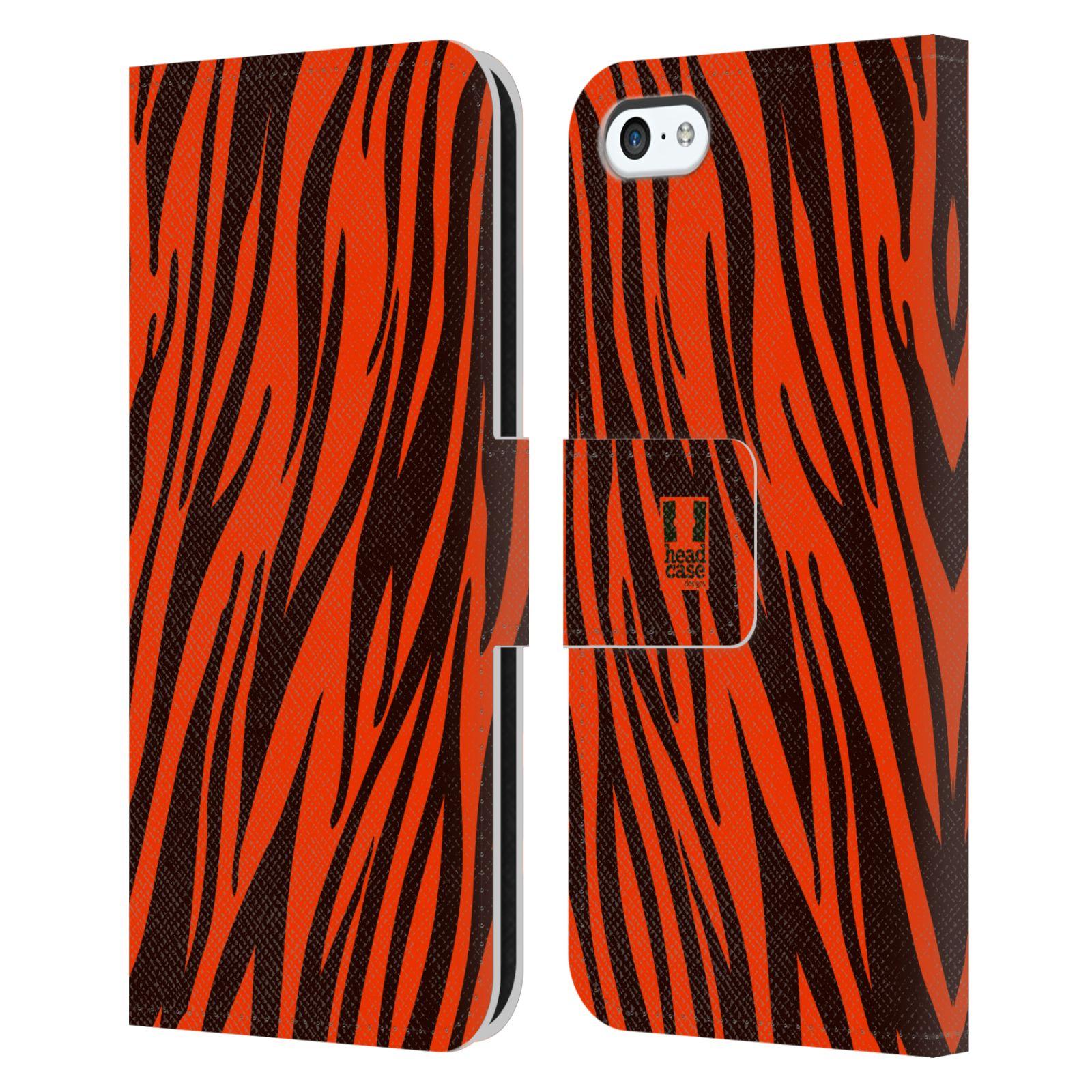 HEAD CASE Flipové pouzdro pro mobil Apple Iphone 5C Zvířecí barevné vzory oranžový tygr