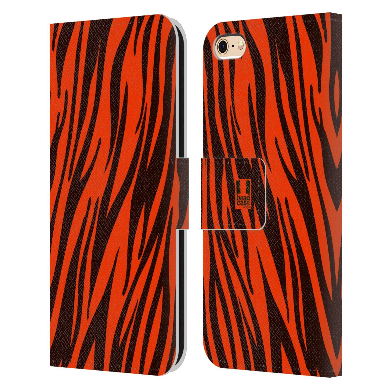 HEAD CASE Flipové pouzdro pro mobil Apple Iphone 6/6s Zvířecí barevné vzory oranžový tygr