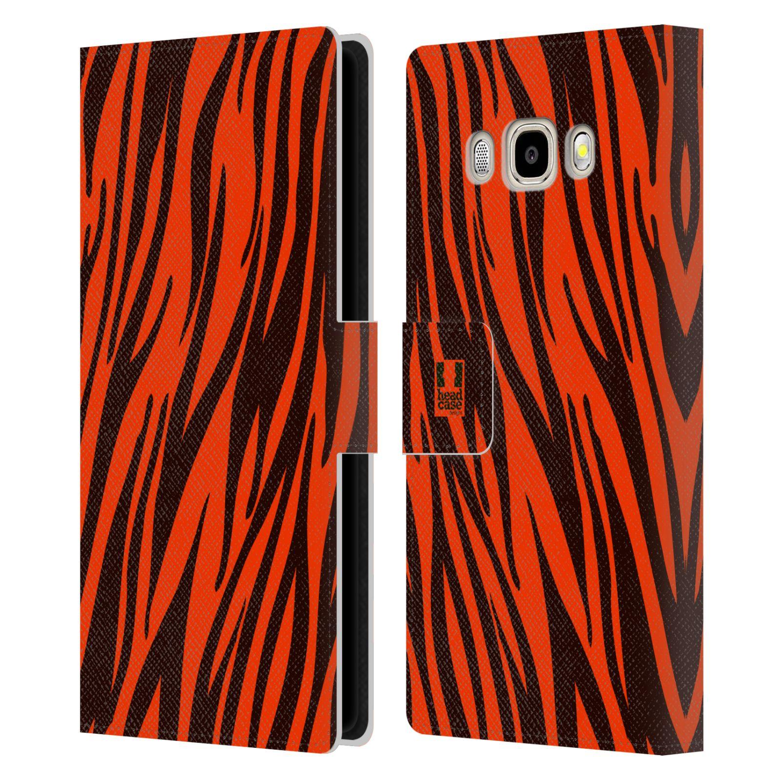 HEAD CASE Flipové pouzdro pro mobil Samsung Galaxy J5 2016 Zvířecí barevné vzory oranžový tygr
