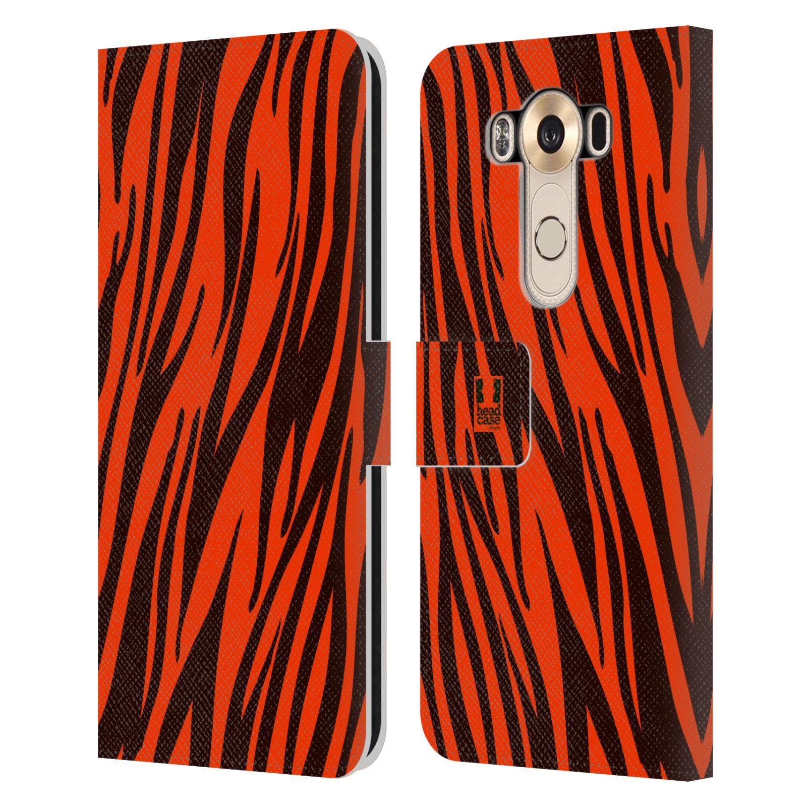 HEAD CASE Flipové pouzdro pro mobil LG V10 Zvířecí barevné vzory oranžový tygr