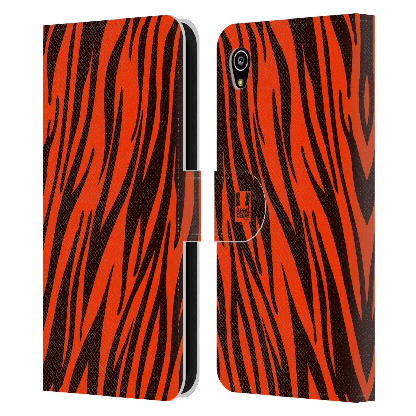 HEAD CASE Flipové pouzdro pro mobil SONY XPERIA M4 AQUA Zvířecí barevné vzory oranžový tygr