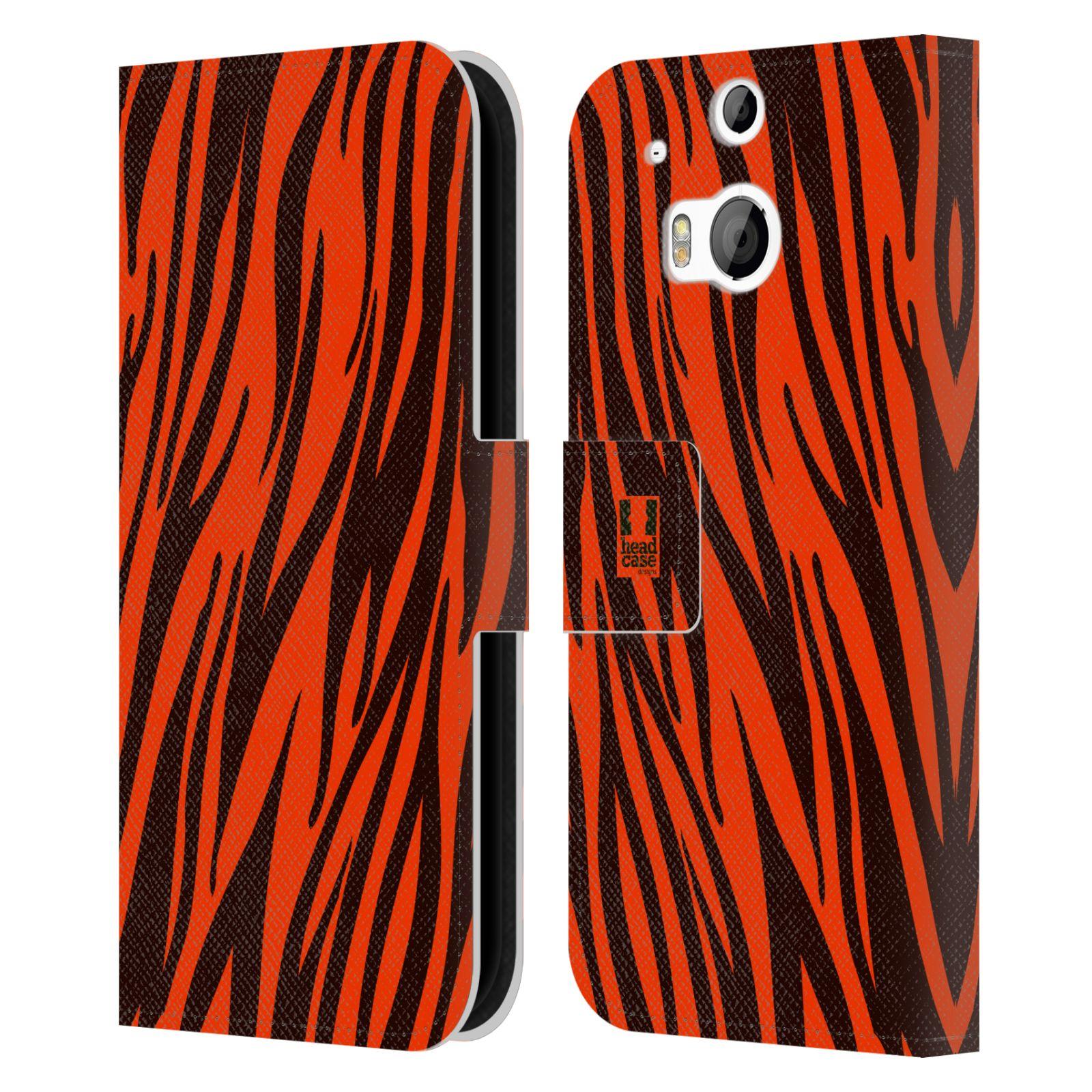 HEAD CASE Flipové pouzdro pro mobil HTC ONE (M8, M8s) Zvířecí barevné vzory oranžový tygr
