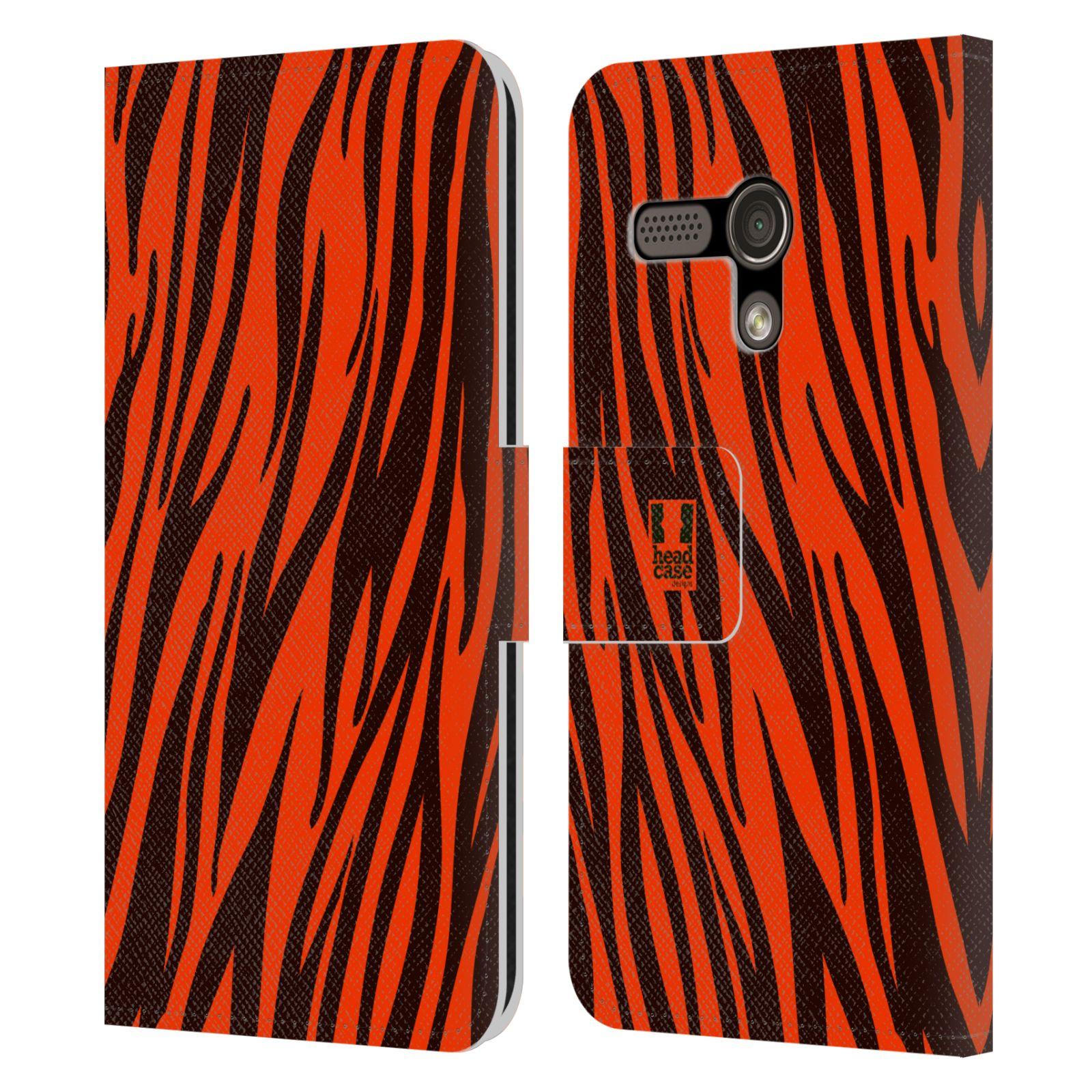 HEAD CASE Flipové pouzdro pro mobil MOTOROLA MOTO G Zvířecí barevné vzory oranžový tygr