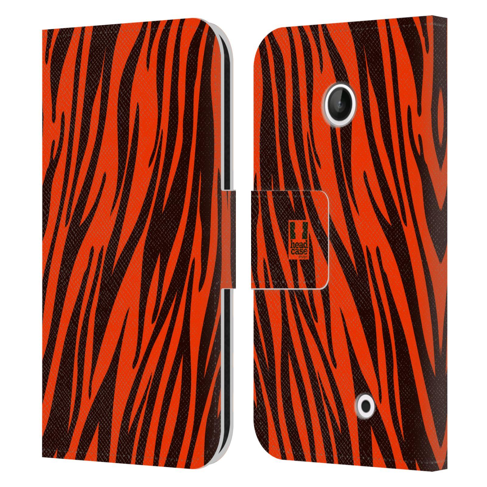 HEAD CASE Flipové pouzdro pro mobil NOKIA LUMIA 630 / LUMIA 630 DUAL Zvířecí barevné vzory oranžový tygr