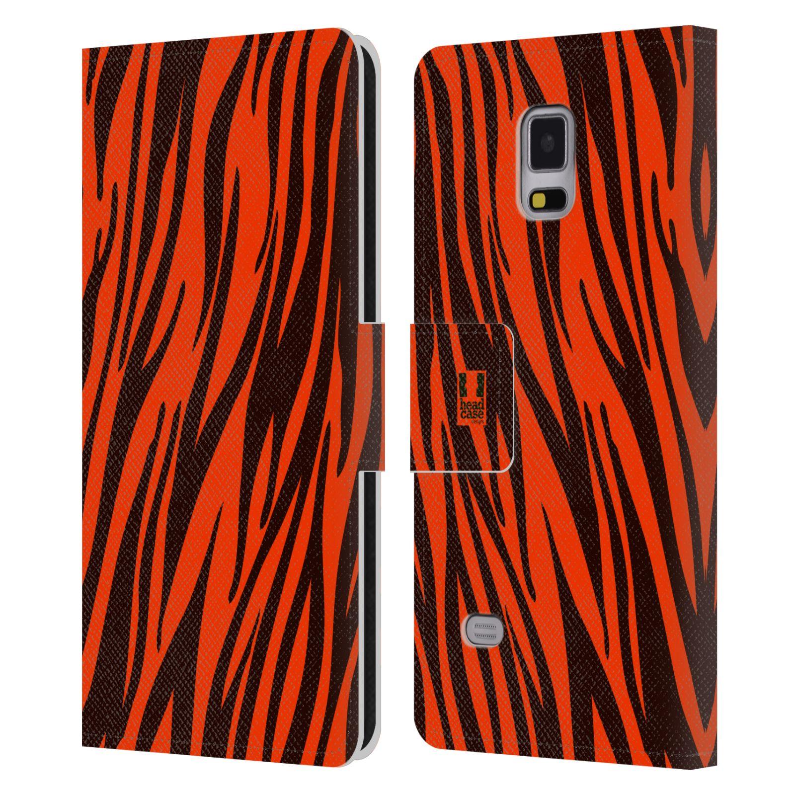 HEAD CASE Flipové pouzdro pro mobil Samsung Galaxy Note 4 Zvířecí barevné vzory oranžový tygr