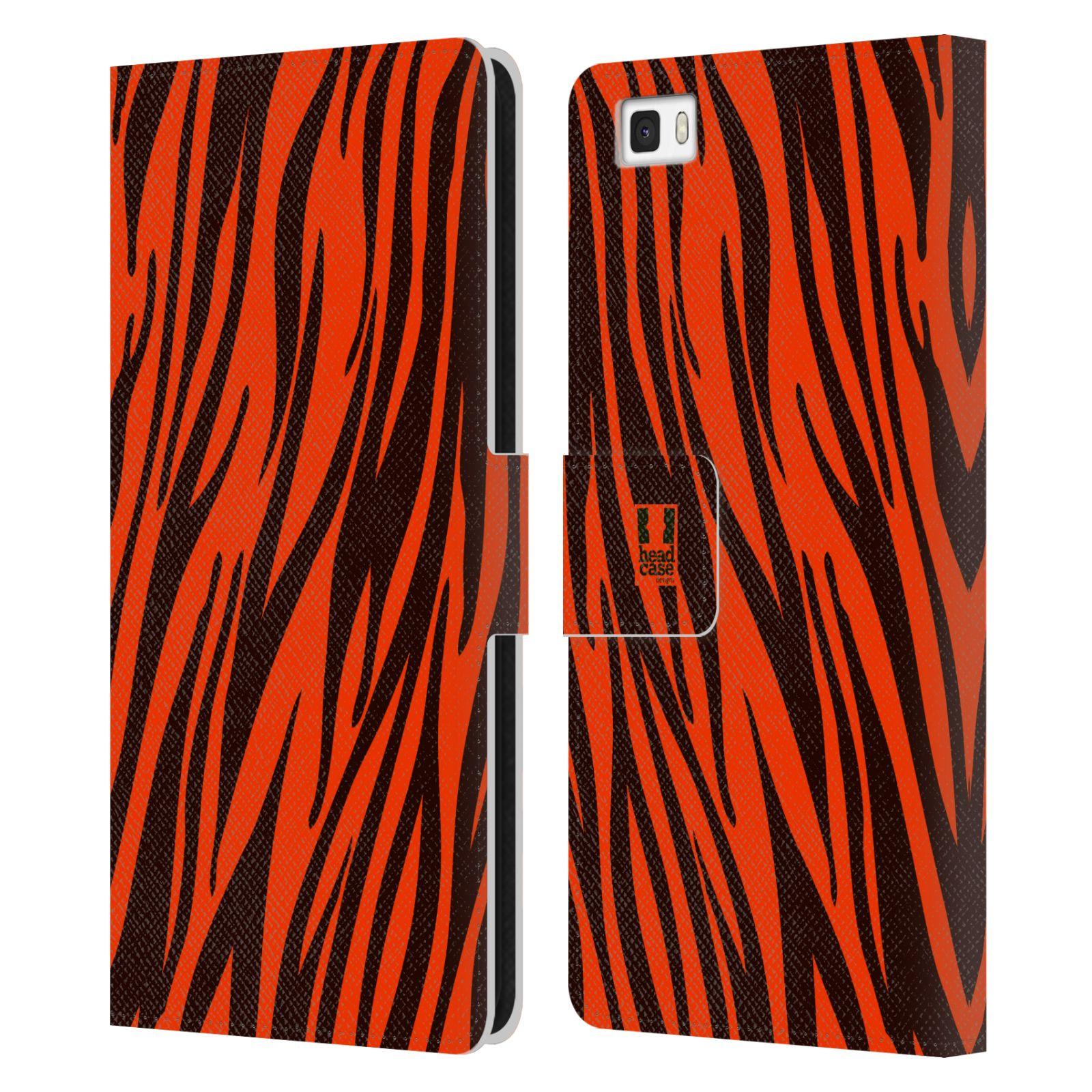 HEAD CASE Flipové pouzdro pro mobil Huawei P8 LITE Zvířecí barevné vzory oranžový tygr