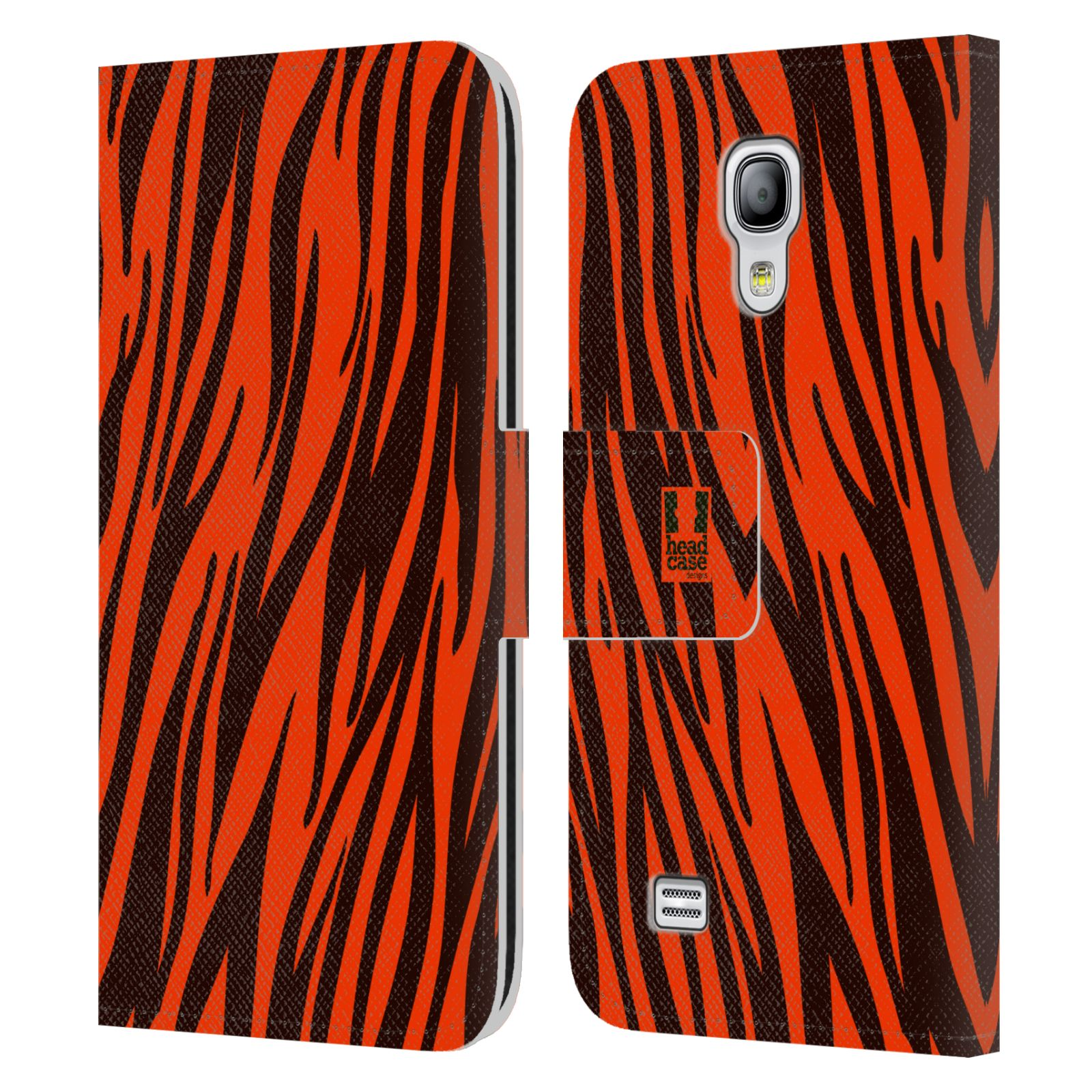HEAD CASE Flipové pouzdro pro mobil Samsung Galaxy S4 MINI / S4 MINI DUOS Zvířecí barevné vzory oranžový tygr