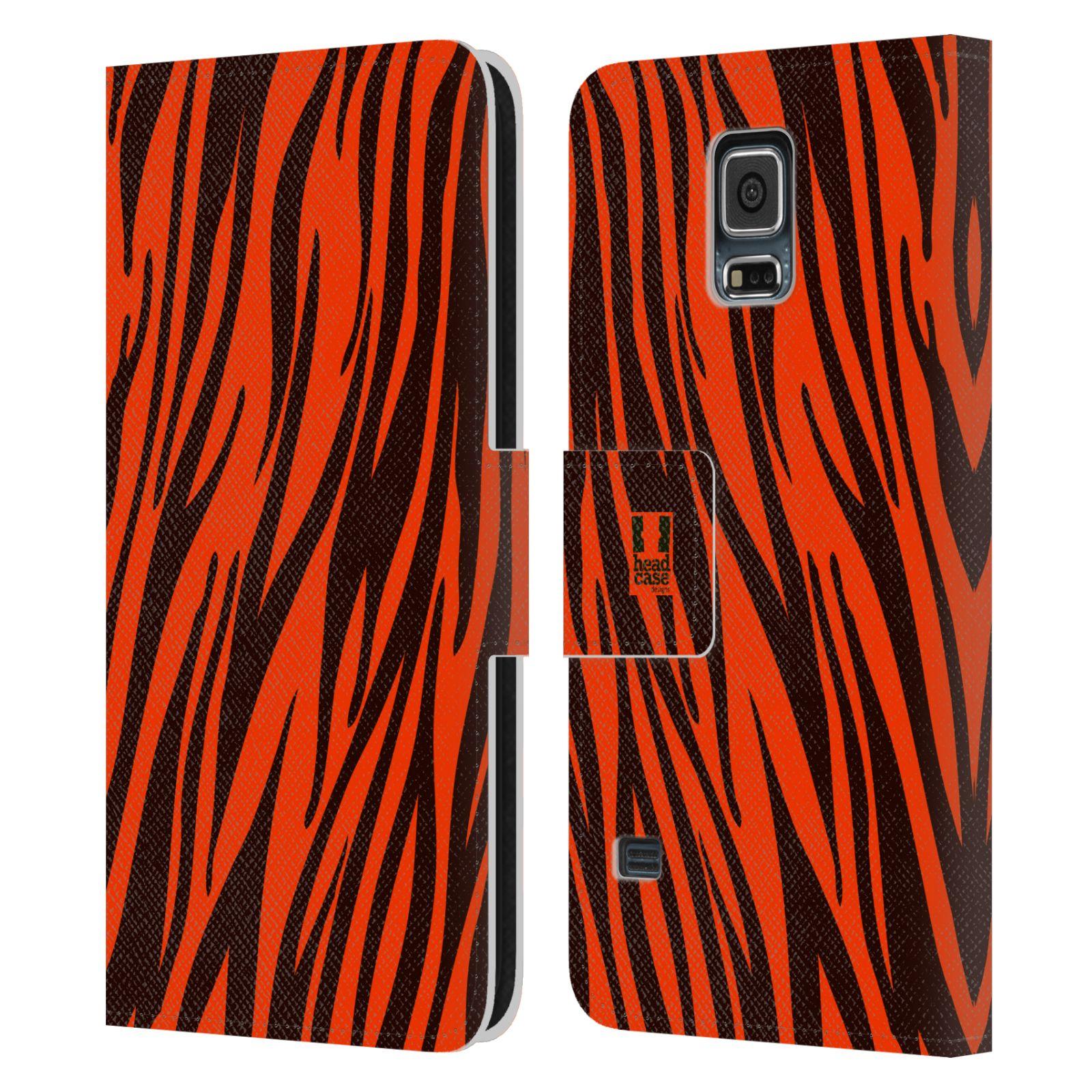 HEAD CASE Flipové pouzdro pro mobil Samsung Galaxy S5 / S5 NEO Zvířecí barevné vzory oranžový tygr