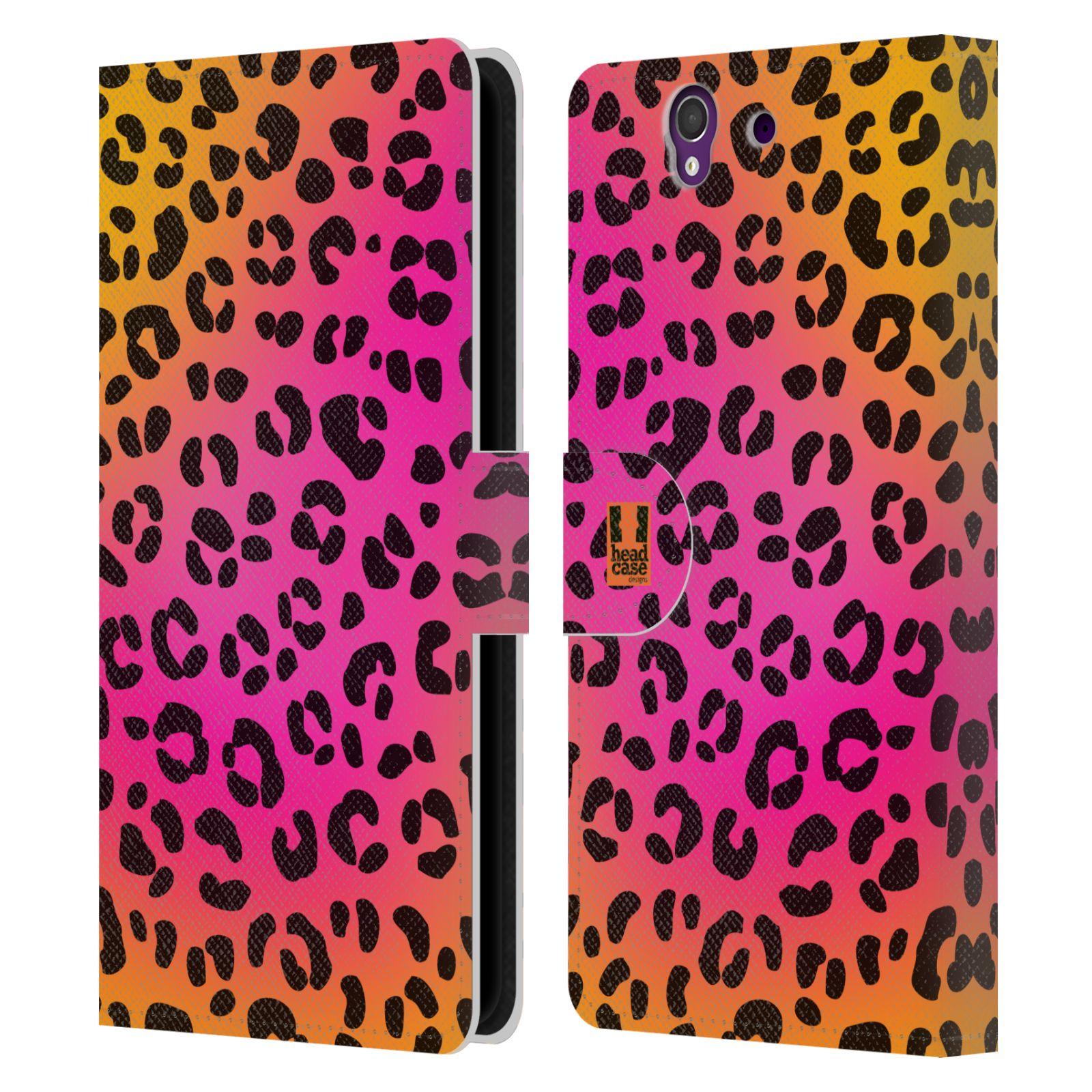HEAD CASE Flipové pouzdro pro mobil SONY XPERIA Z (C6603) Zvířecí barevné vzory růžový leopard