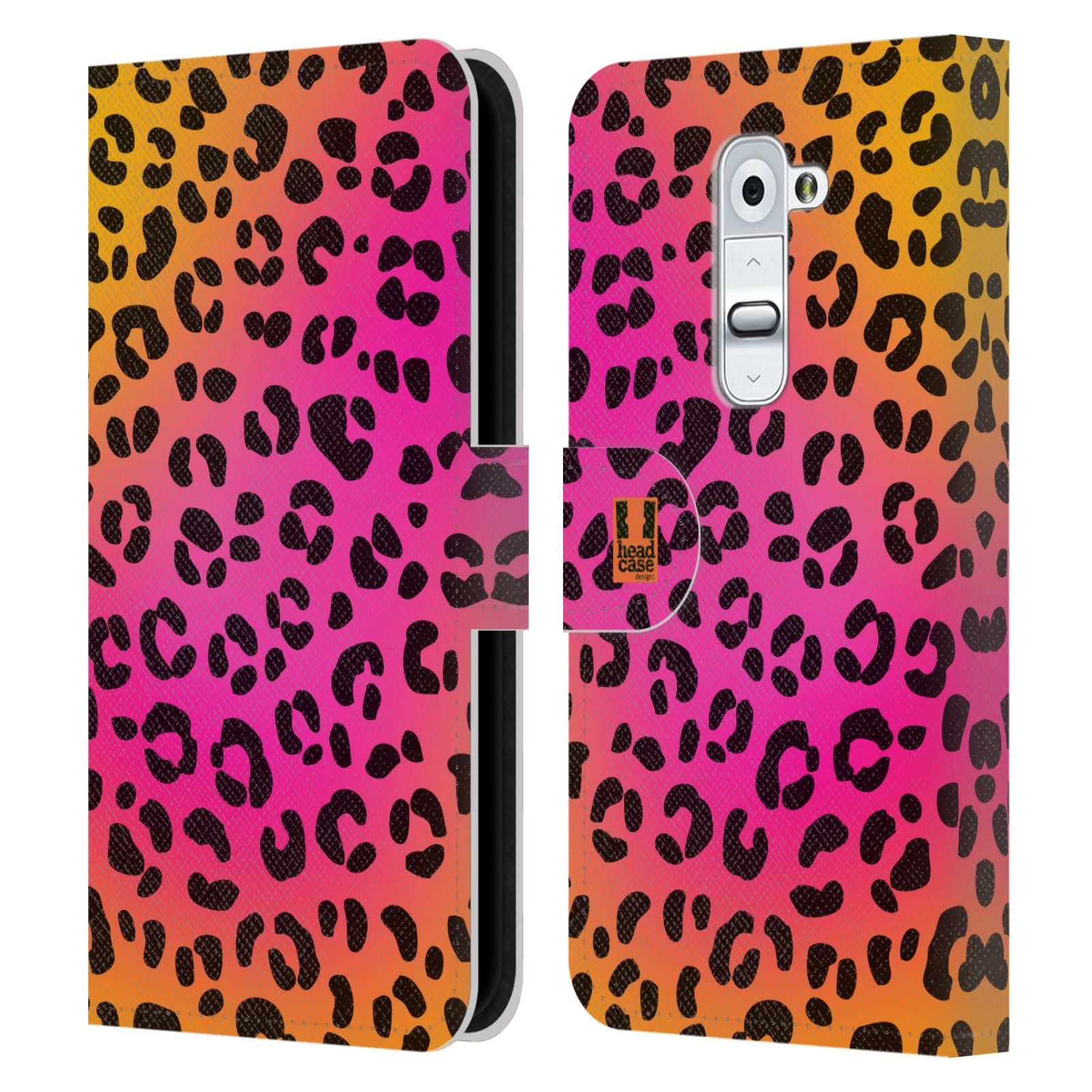 HEAD CASE Flipové pouzdro pro mobil LG G2 (D802) Zvířecí barevné vzory růžový leopard