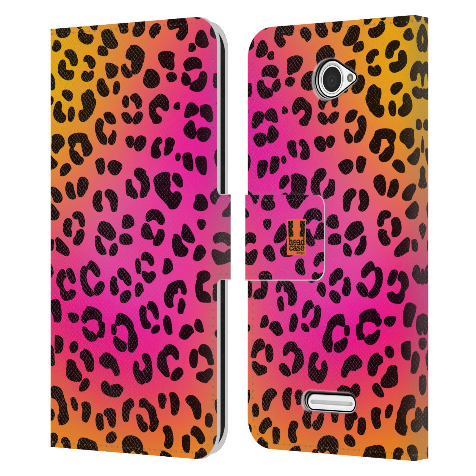 HEAD CASE Flipové pouzdro pro mobil SONY XPERIA E4 Zvířecí barevné vzory růžový leopard
