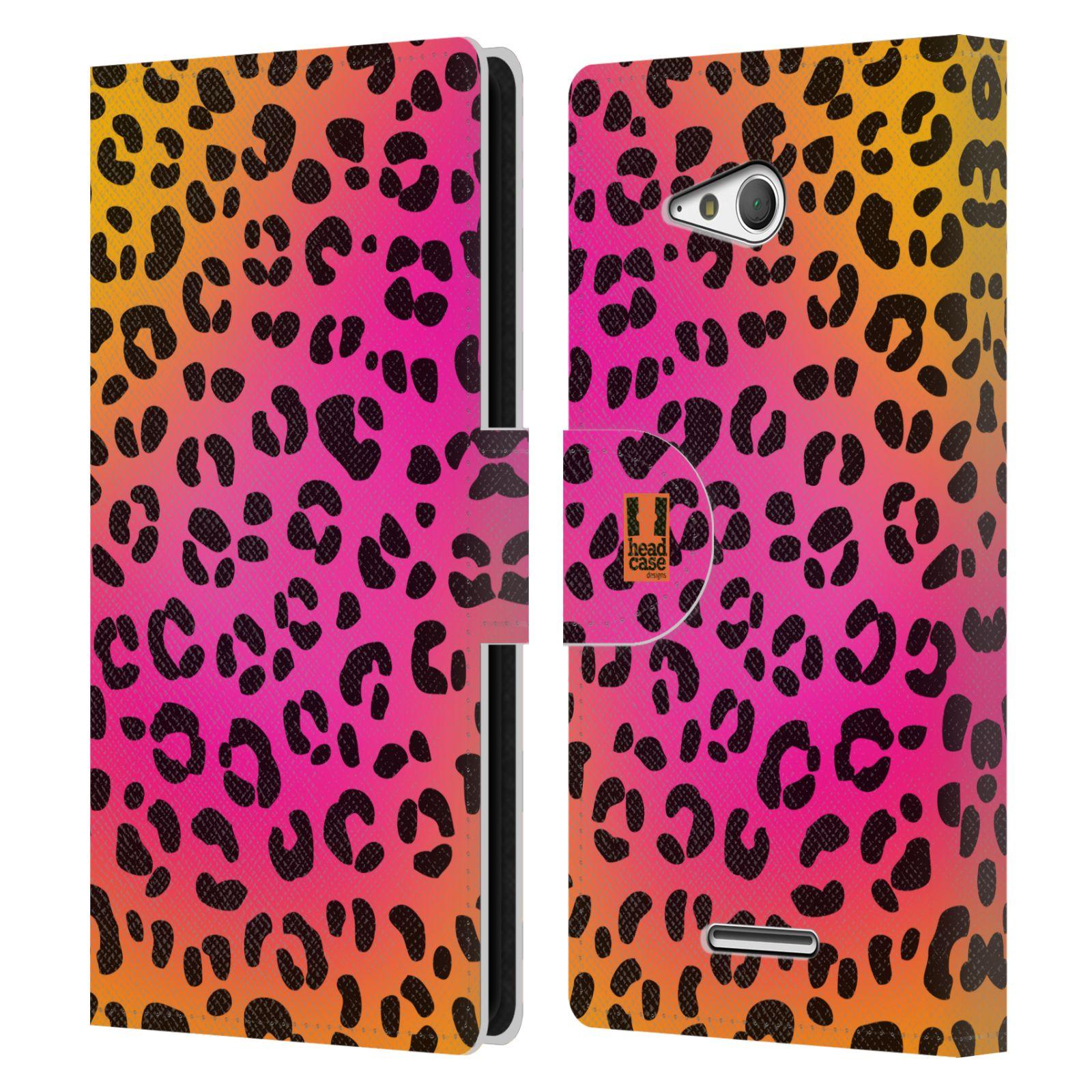HEAD CASE Flipové pouzdro pro mobil SONY XPERIA E4g Zvířecí barevné vzory růžový leopard