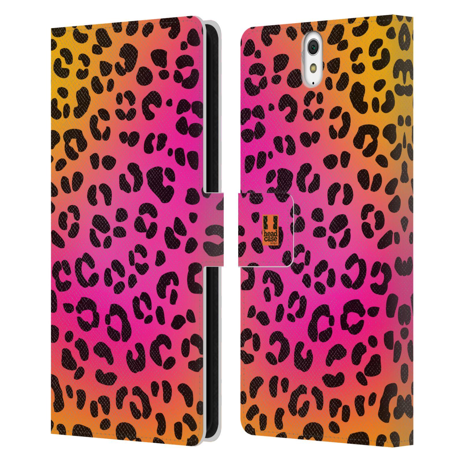HEAD CASE Flipové pouzdro pro mobil SONY XPERIA C5 Ultra Zvířecí barevné vzory růžový leopard