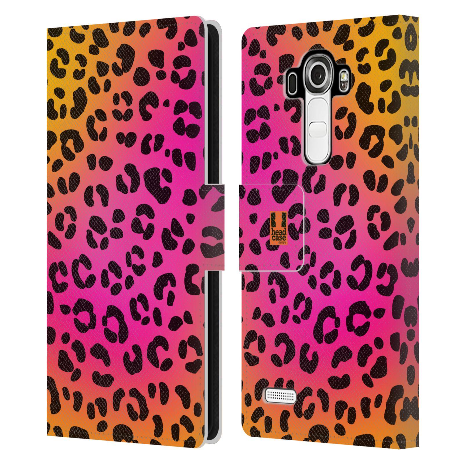 HEAD CASE Flipové pouzdro pro mobil LG G4 (H815) Zvířecí barevné vzory růžový leopard
