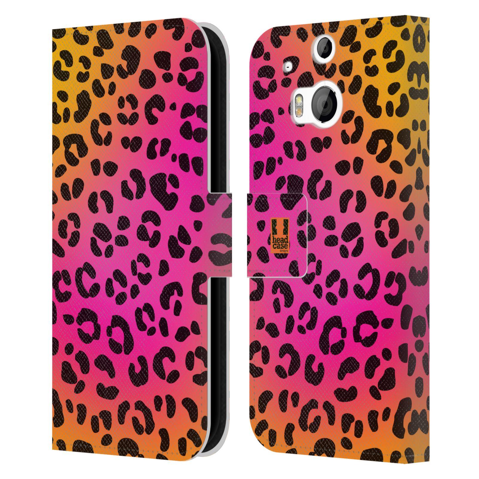 HEAD CASE Flipové pouzdro pro mobil HTC ONE (M8, M8s) Zvířecí barevné vzory růžový leopard