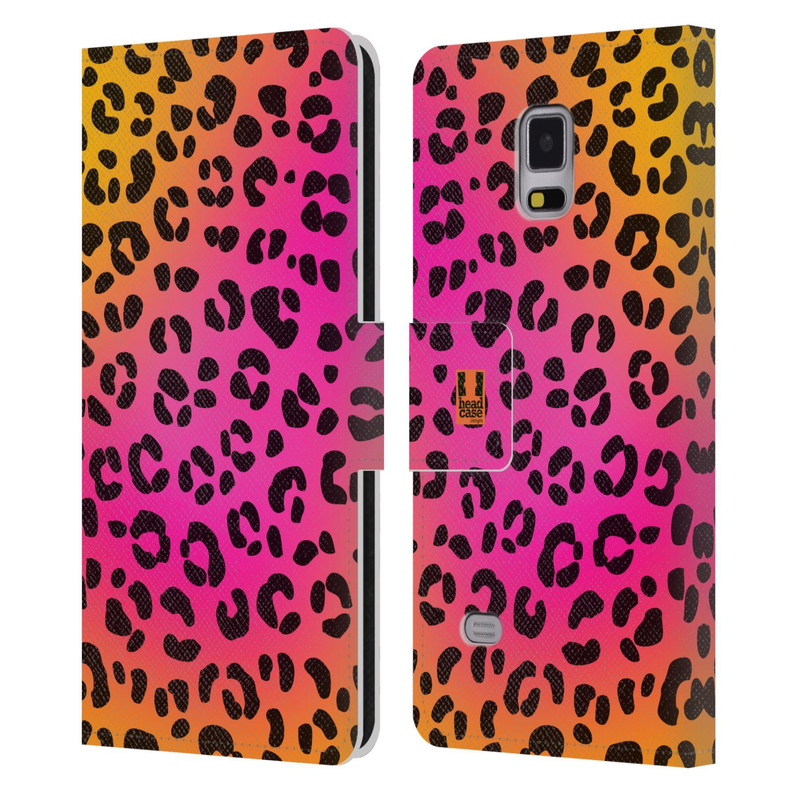 HEAD CASE Flipové pouzdro pro mobil Samsung Galaxy Note 4 Zvířecí barevné vzory růžový leopard