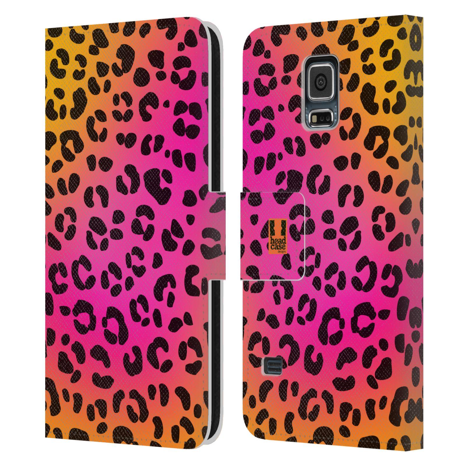 HEAD CASE Flipové pouzdro pro mobil Samsung Galaxy S5 / S5 NEO Zvířecí barevné vzory růžový leopard