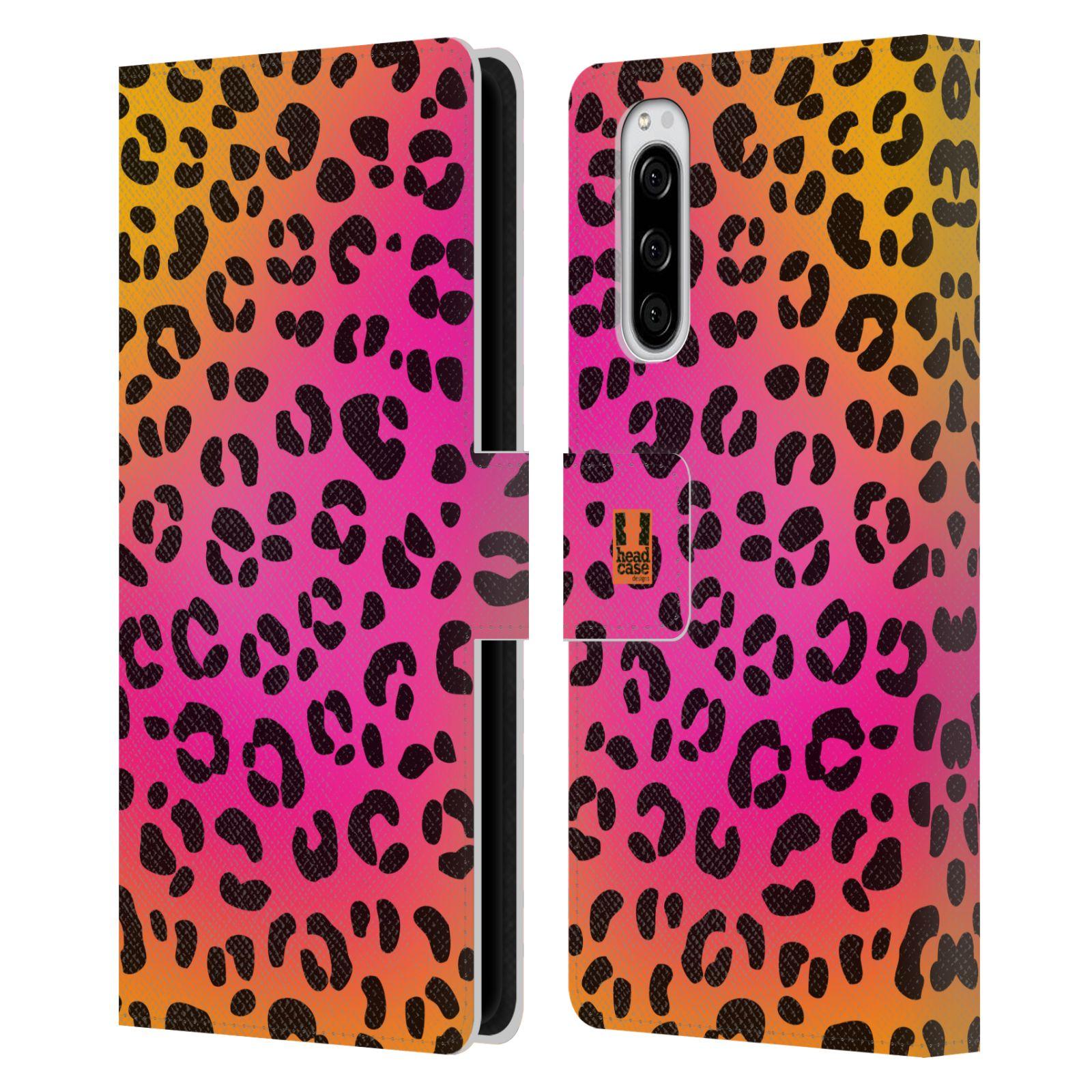 Pouzdro na mobil Sony Xperia 5 Zvířecí barevné vzory růžový leopard