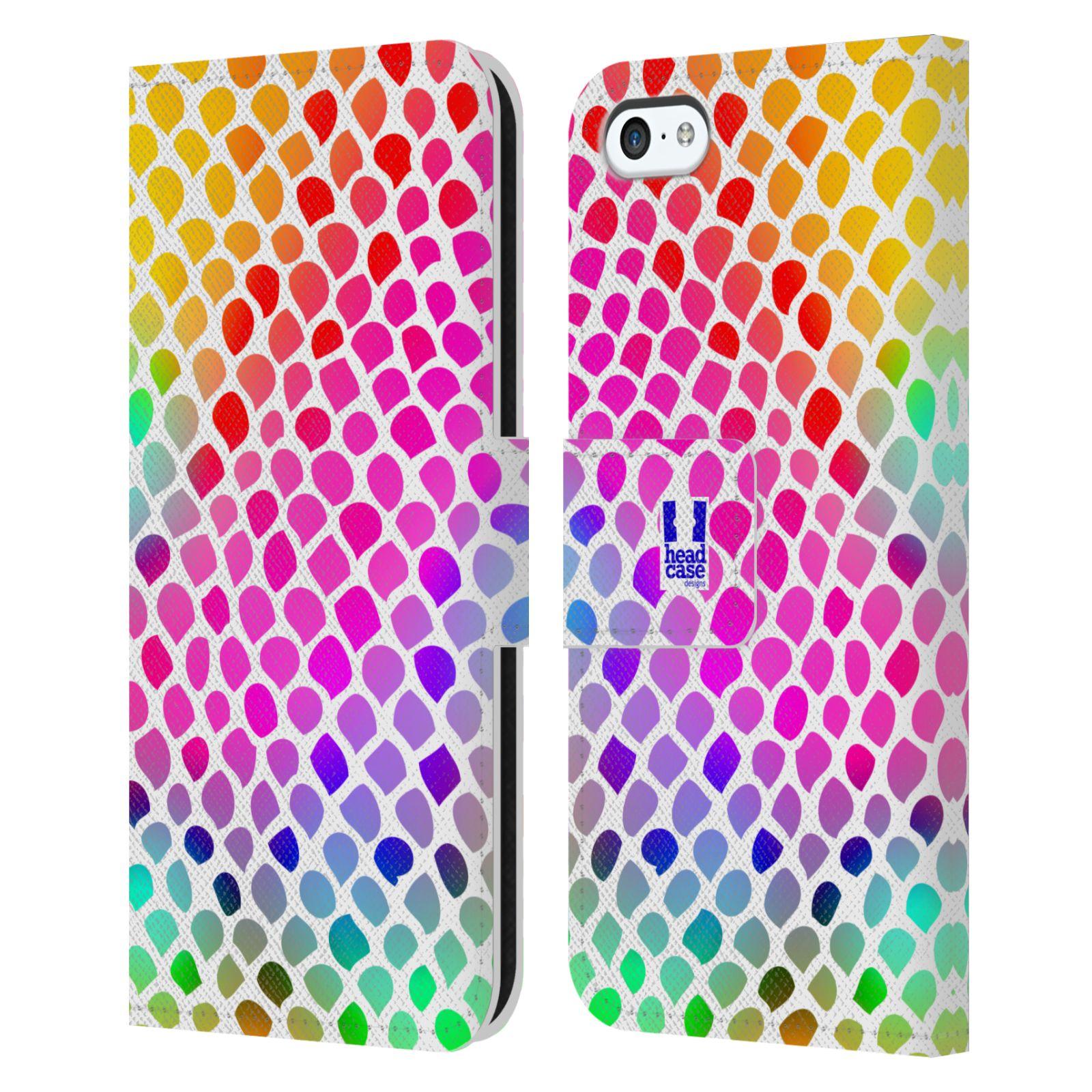 HEAD CASE Flipové pouzdro pro mobil Apple Iphone 5C Zvířecí barevné vzory duhový had