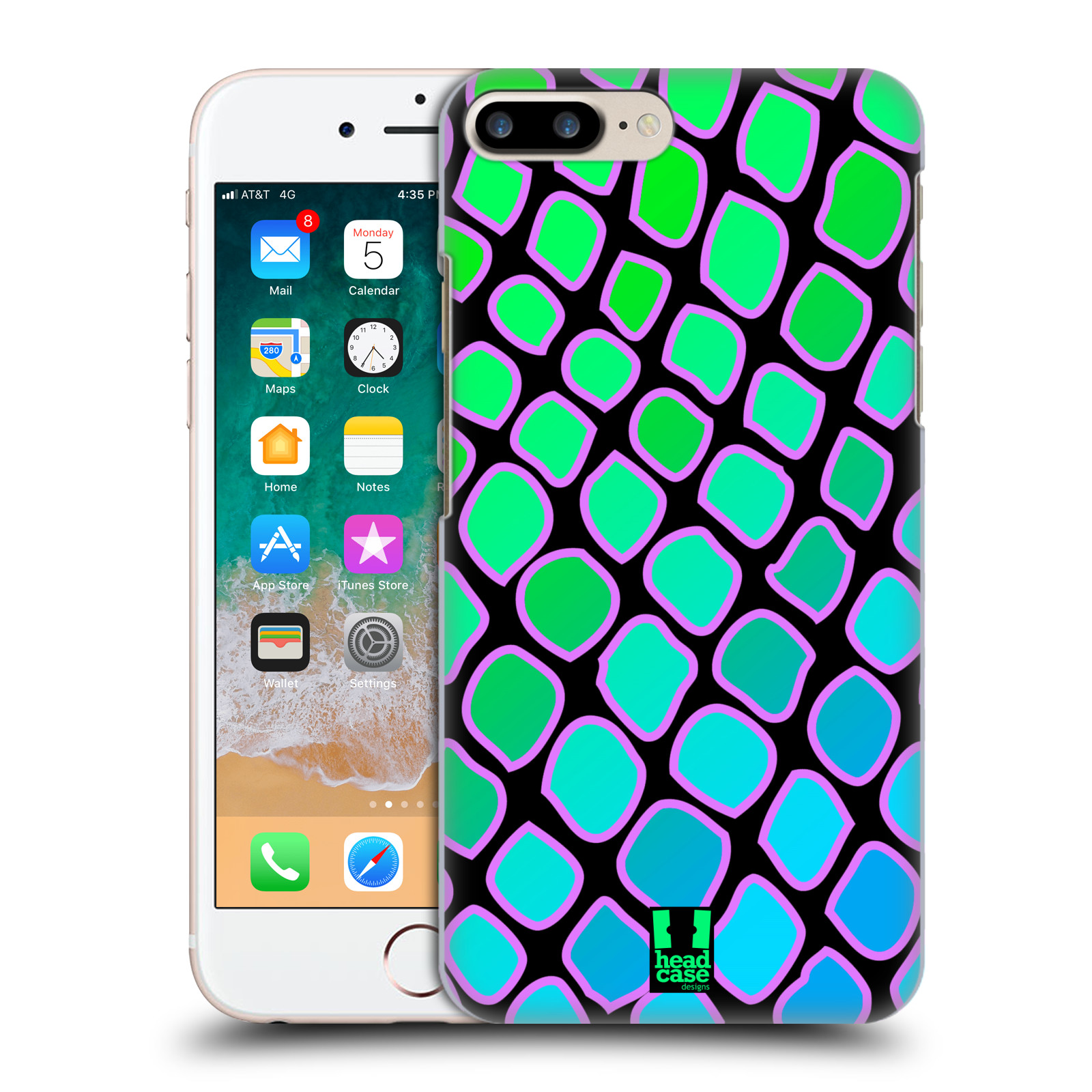 HEAD CASE plastový obal na mobil Apple Iphone 7 PLUS vzor Divočina zvíře  modrý had
